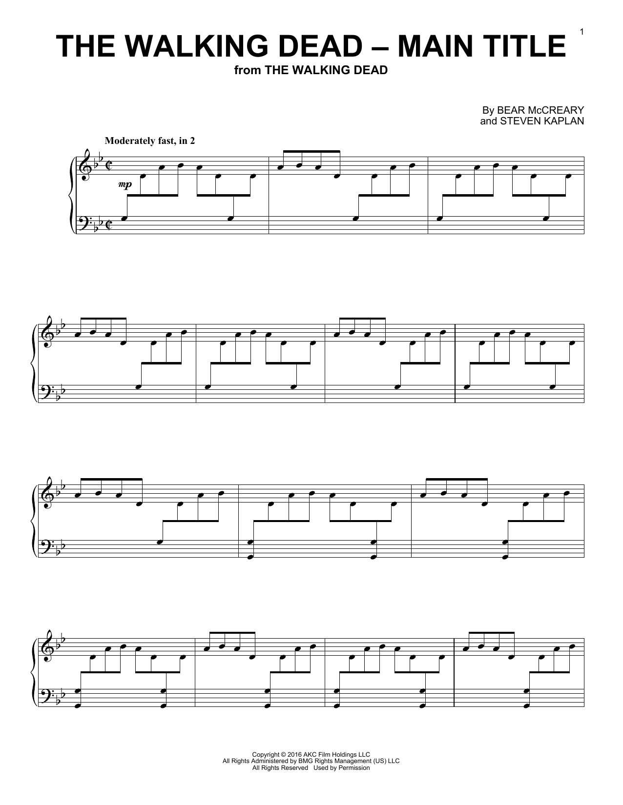 Bear McCreary 'The Walking Dead - Main Title' Sheet Music Notes, Chords |  Download Printable Piano - SKU: 178888