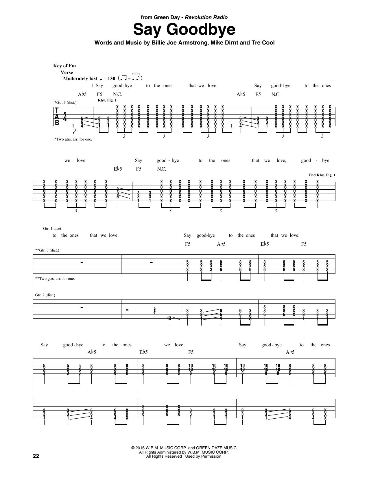 Green Day Say Goodbye Sheet Music Notes Chords Printable Pop