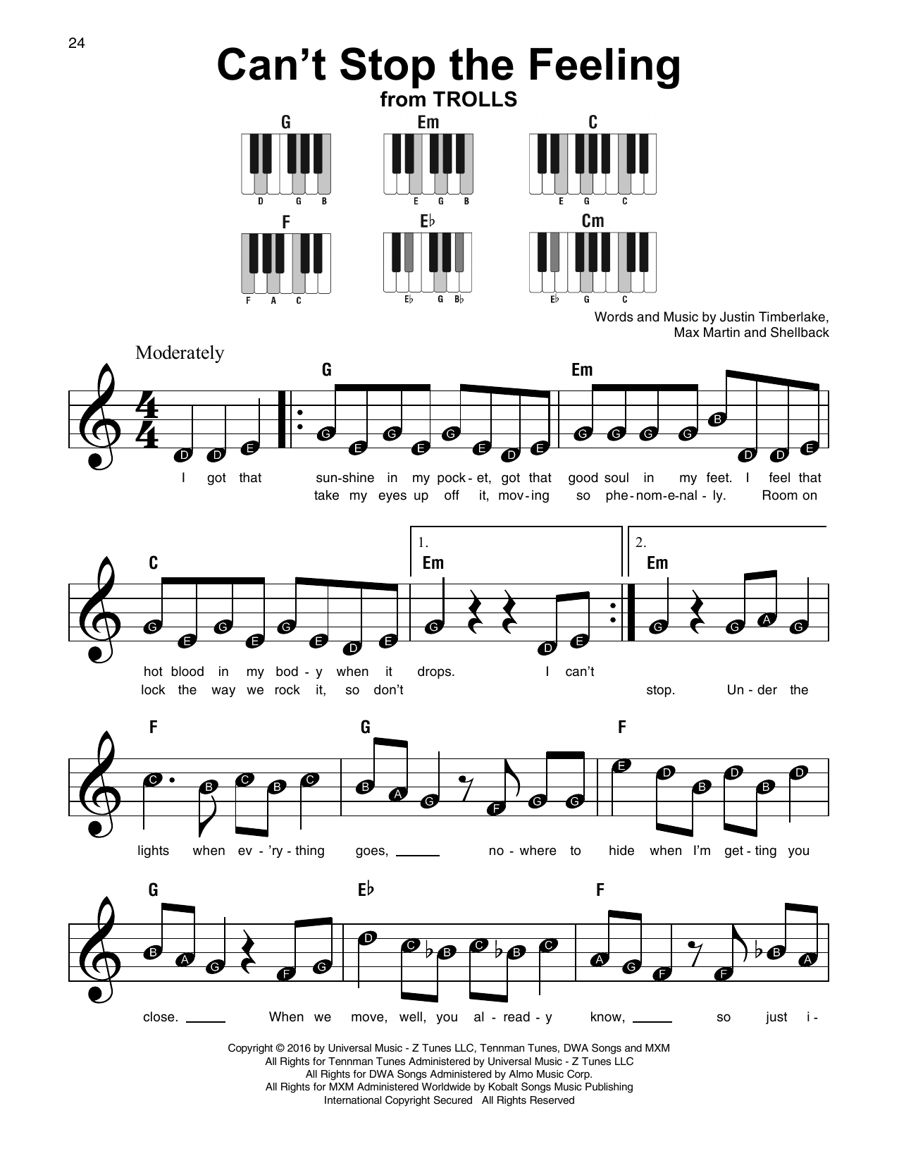 Justin Timberlake Cant Stop The Feeling Sheet Music Notes Chords