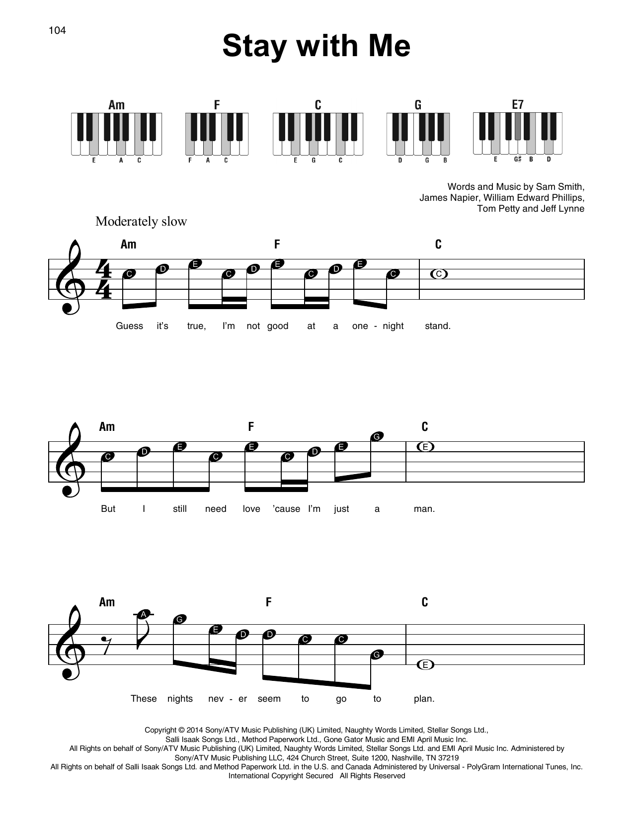 Sam Smith Stay With Me Sheet Music Notes Chords Printable Rock