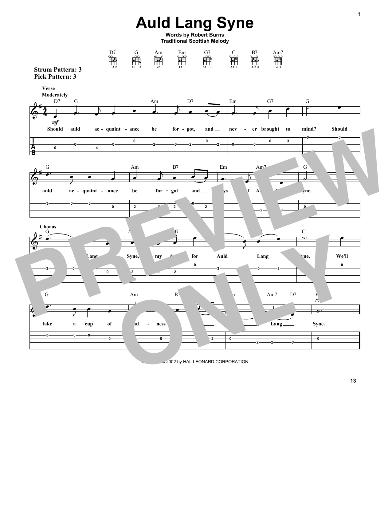 Robert Burns Auld Lang Syne Sheet Music Notes Chords Printable