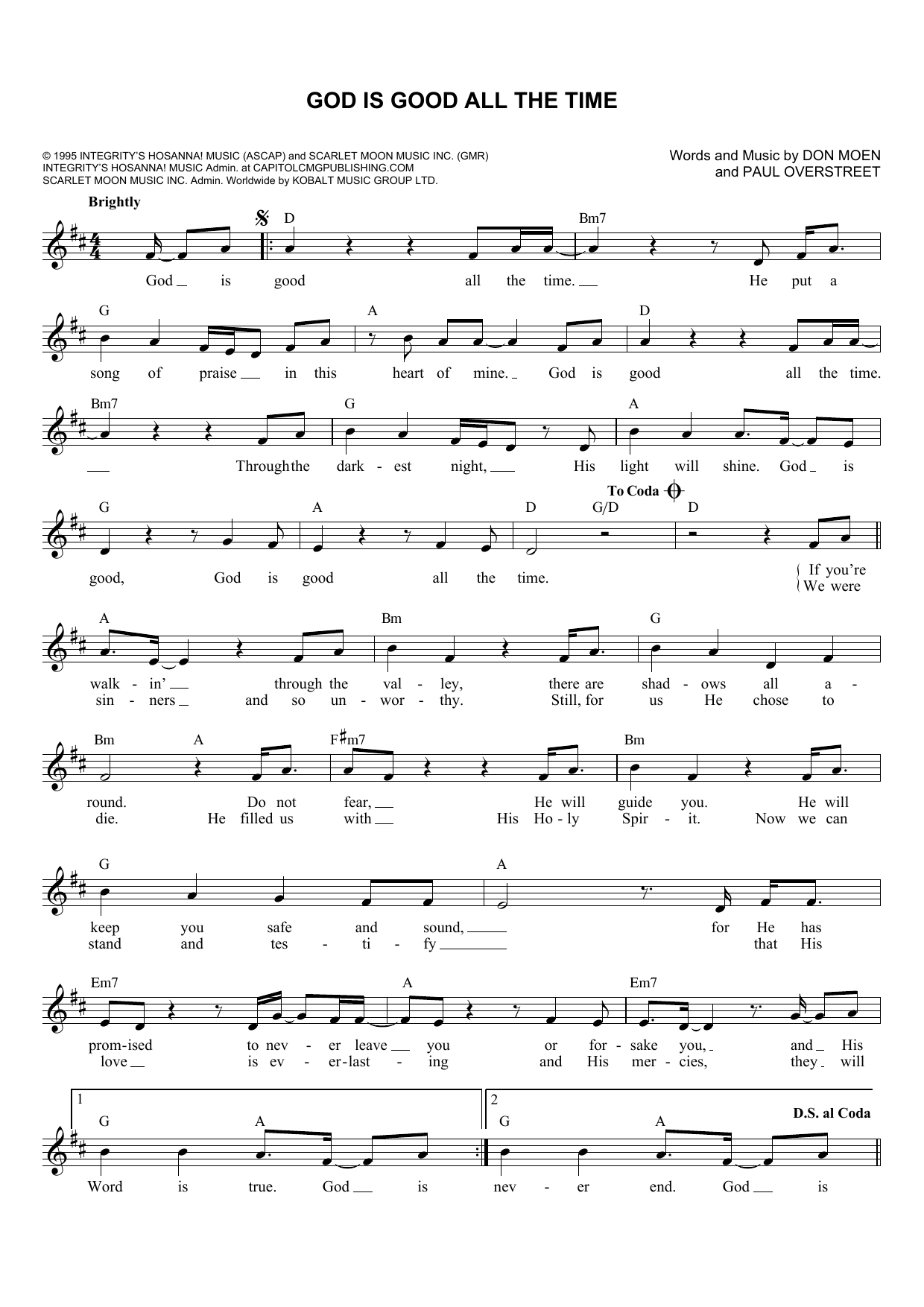 Don Moen God Is Good All The Time Sheet Music Notes Chords