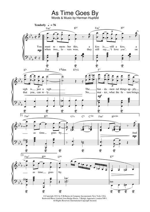 H Hupfeld As Time Goes By sheet music notes and chords