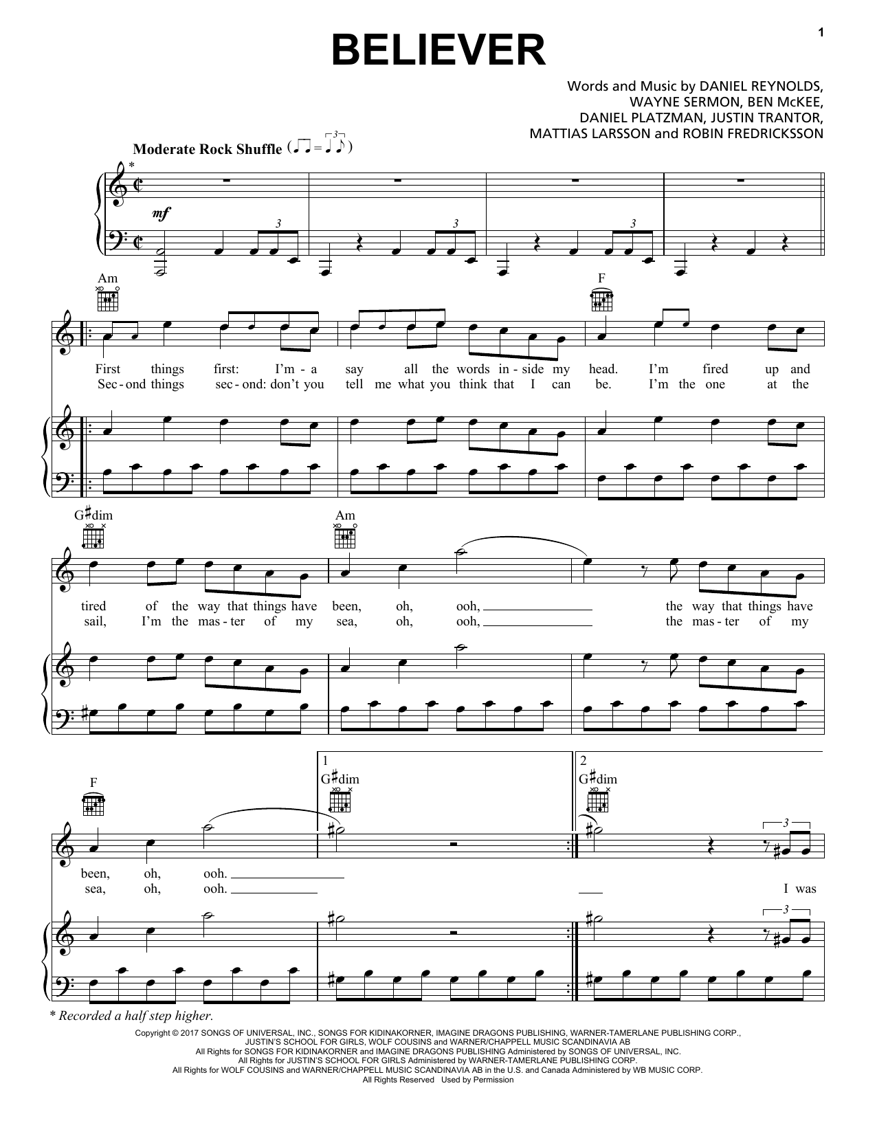 Imagine Dragons Believer Sheet Music Notes Chords Printable Pop
