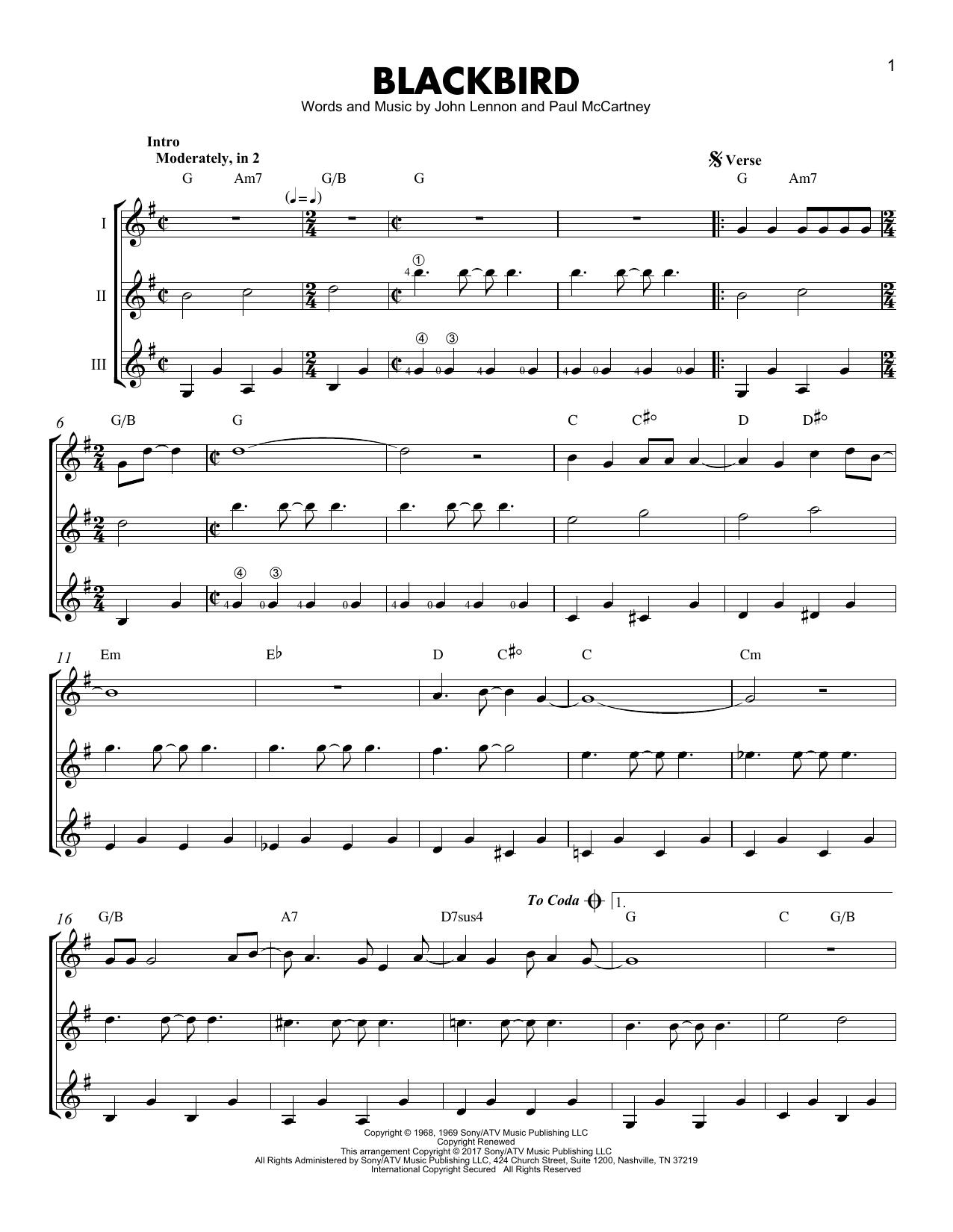 The Beatles Blackbird Sheet Music Notes Chords Printable Pop