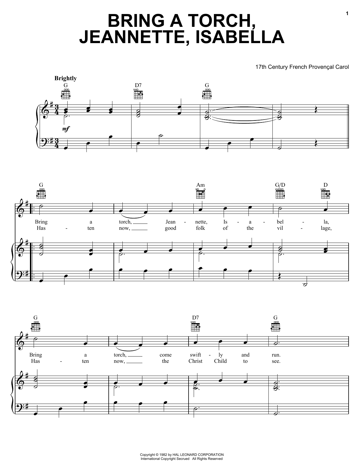 17th Century French Carol Bring A Torch, Jeannette Isabella sheet music notes and chords. Download Printable PDF.
