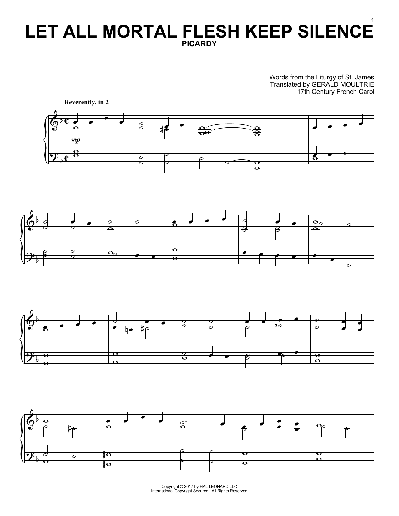 17th Century French Carol Let All Mortal Flesh Keep Silence sheet music notes and chords. Download Printable PDF.