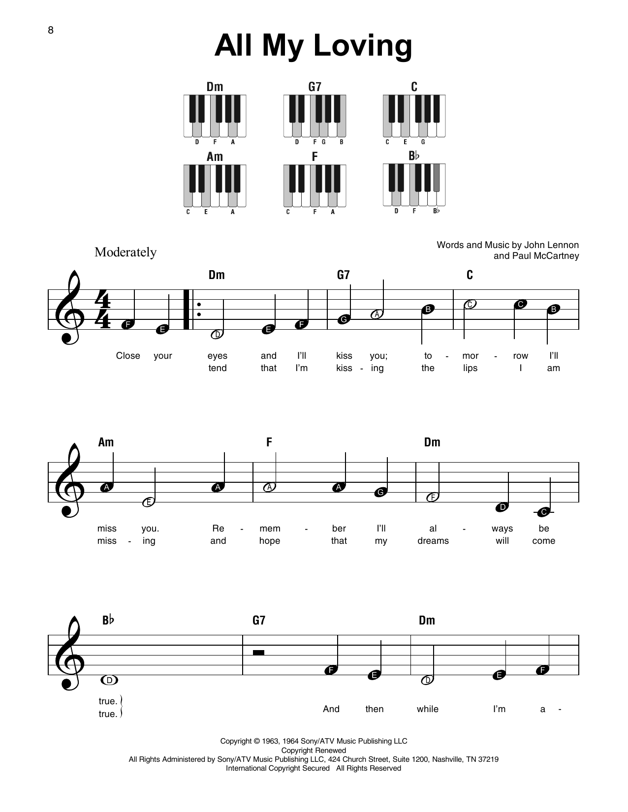 The Beatles 'All My Loving' Sheet Music Notes, Chords | Download Printable  Super Easy Piano - SKU: 180017