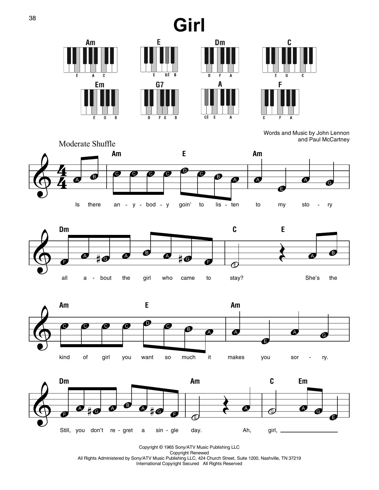 The Beatles Girl Sheet Music Notes Chords Printable Rock Super