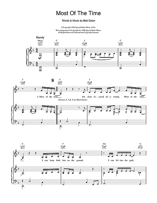 Bob Dylan Most Of The Time From High Fidelity Sheet Music Notes