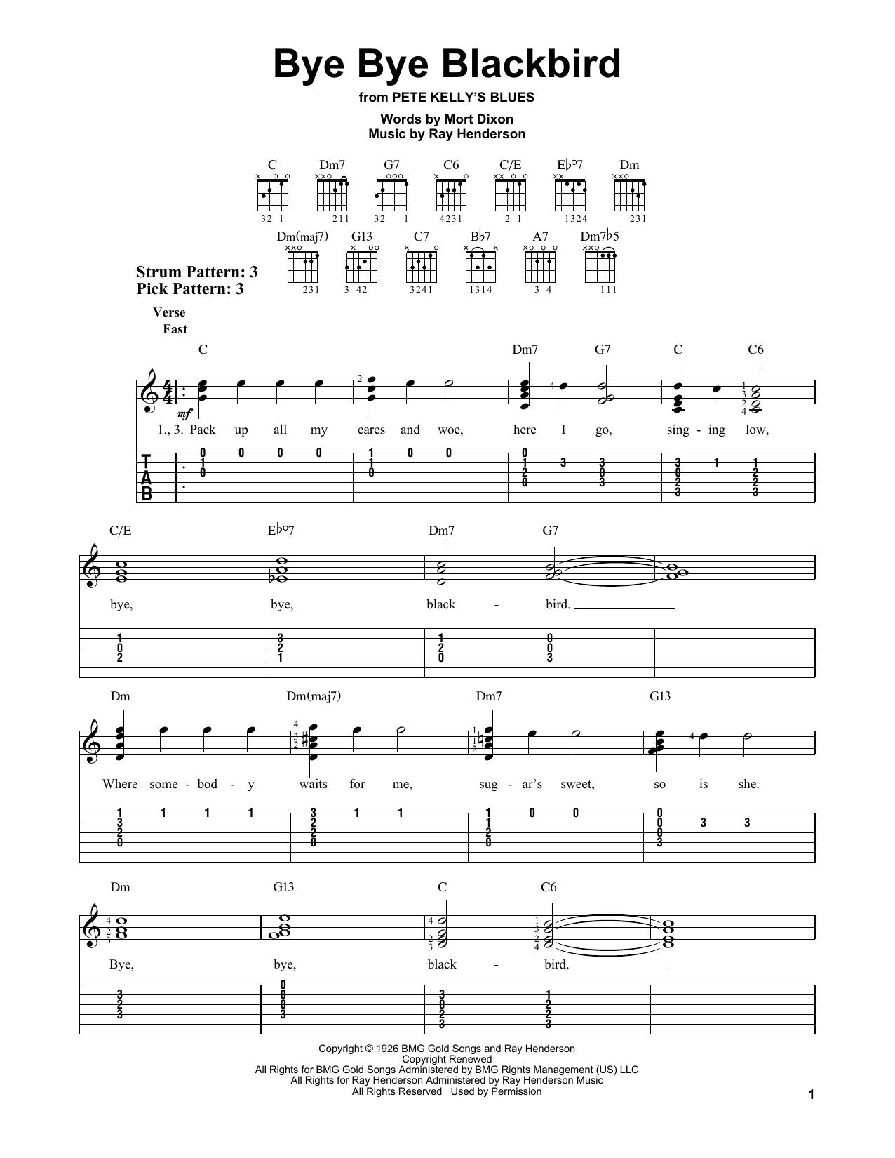 Ray Henderson Bye Bye Blackbird Sheet Music Notes Chords