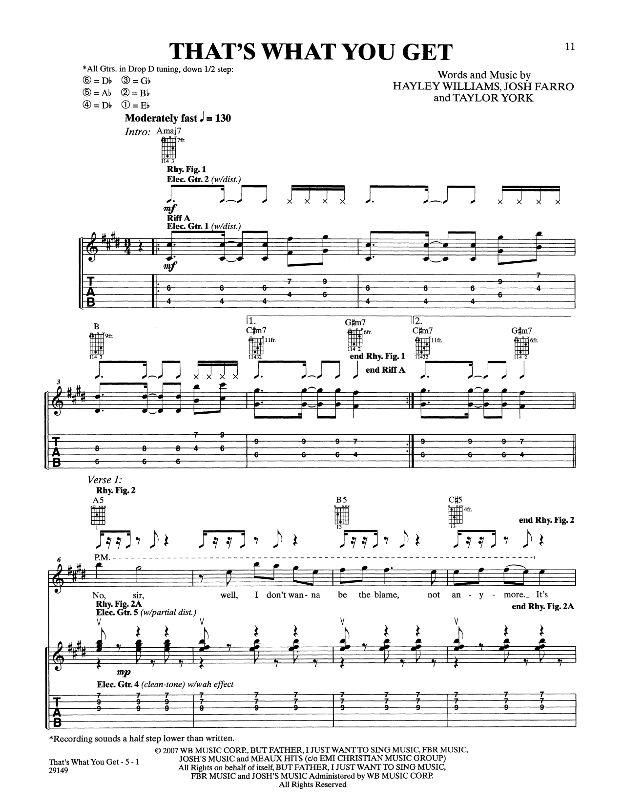 Paramore Thats What You Get Sheet Music Notes Chords Printable