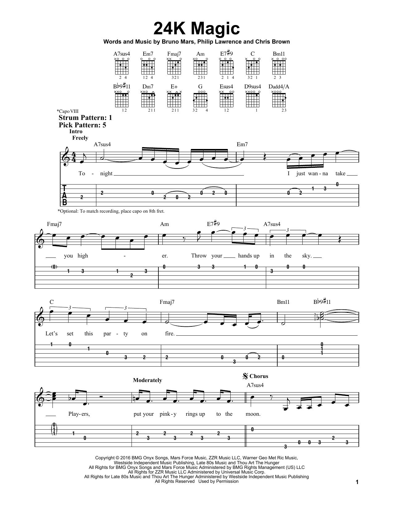 Bruno Mars 24k Magic Sheet Music Notes Chords Printable Rock
