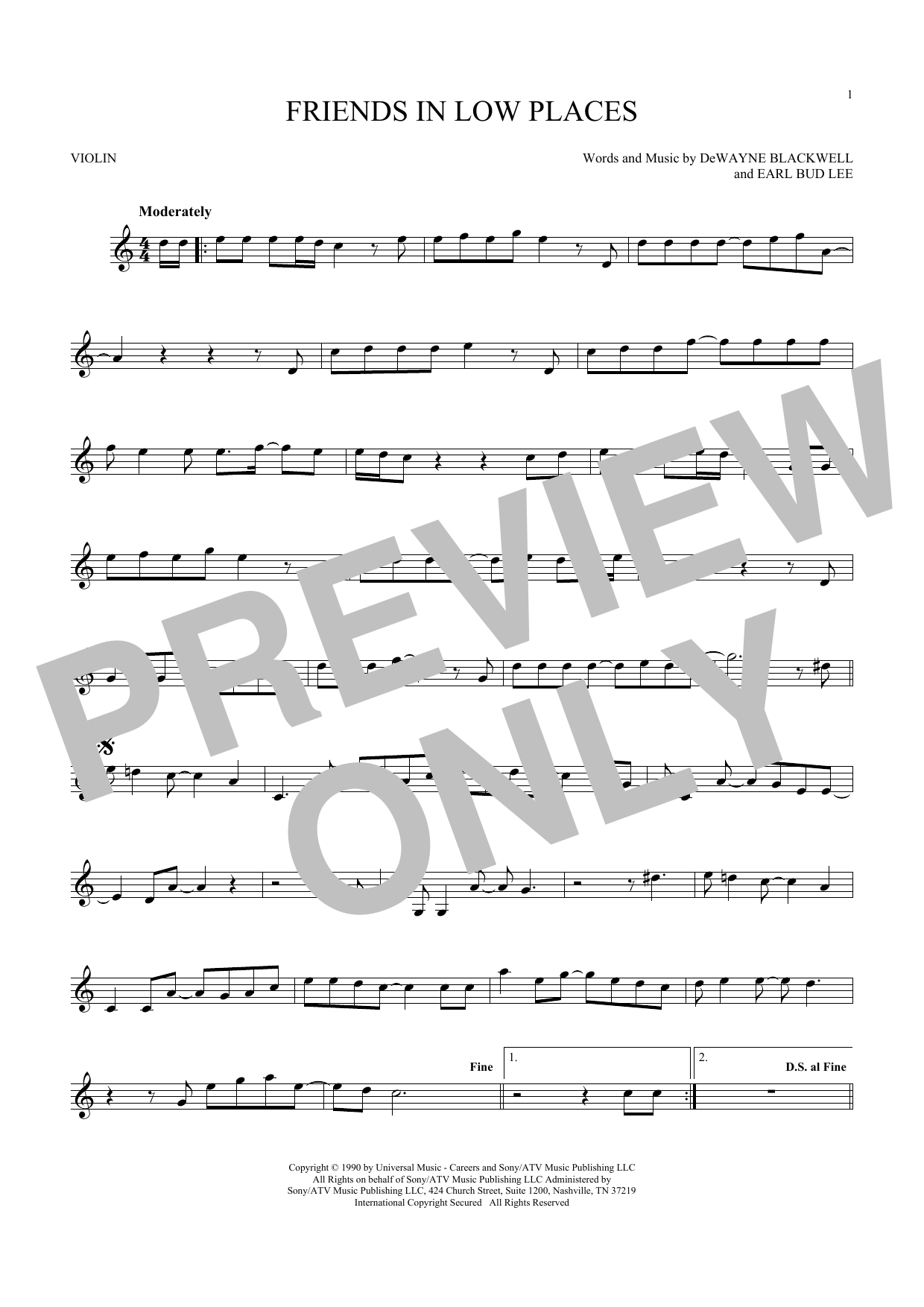 Garth Brooks Friends In Low Places Sheet Music Notes Chords