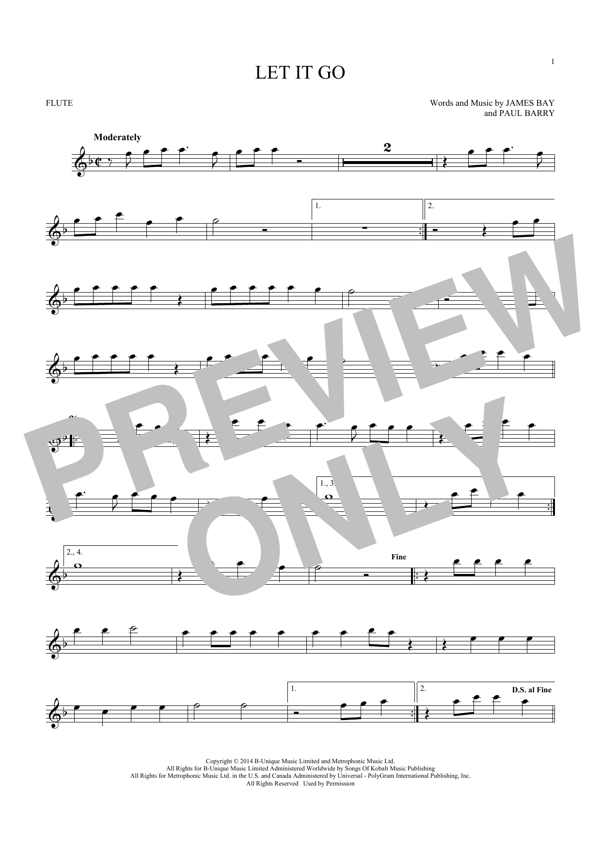James Bay 'Let It Go' Sheet Music Notes, Chords | Download Printable Flute  - SKU: 181249