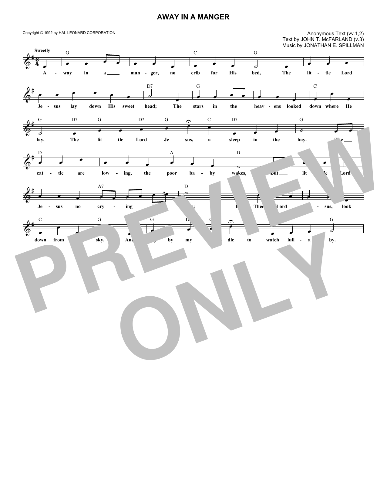 photograph relating to Lyrics to Away in a Manger Printable known as John T. McFarland Absent Inside A Manger Sheet New music Notes, Chords Down load Printable Melody Line, Lyrics Chords - SKU: 181639