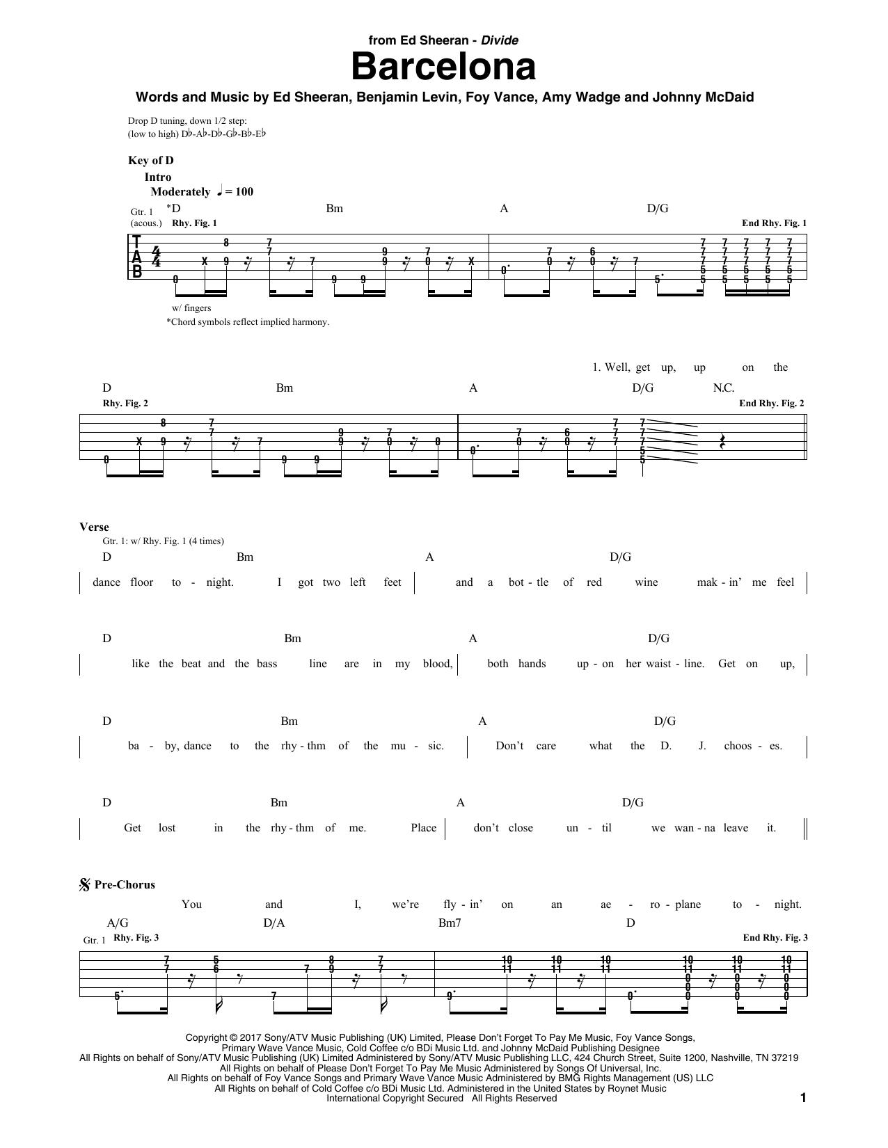 Ed Sheeran Barcelona Sheet Music Notes Chords Printable Pop