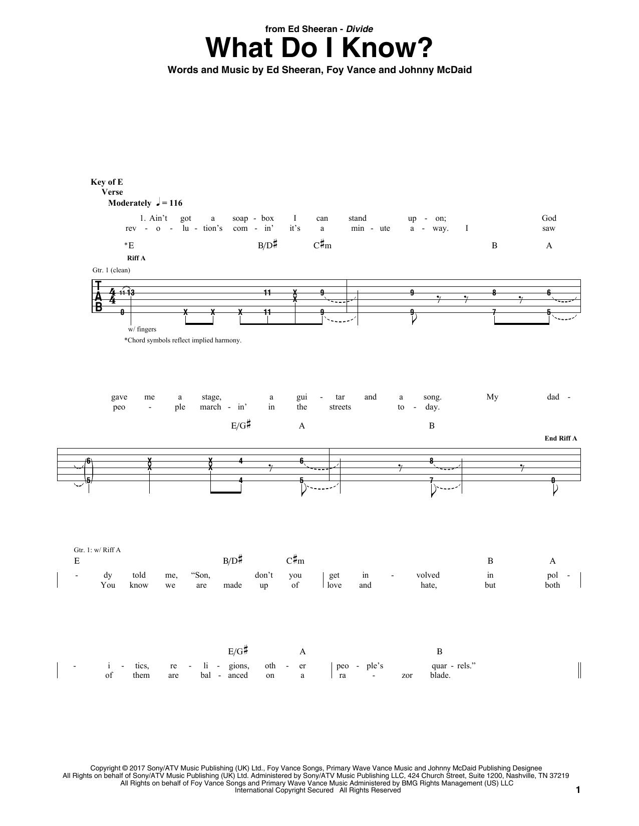 Ed Sheeran What Do I Know Sheet Music Notes Chords Printable