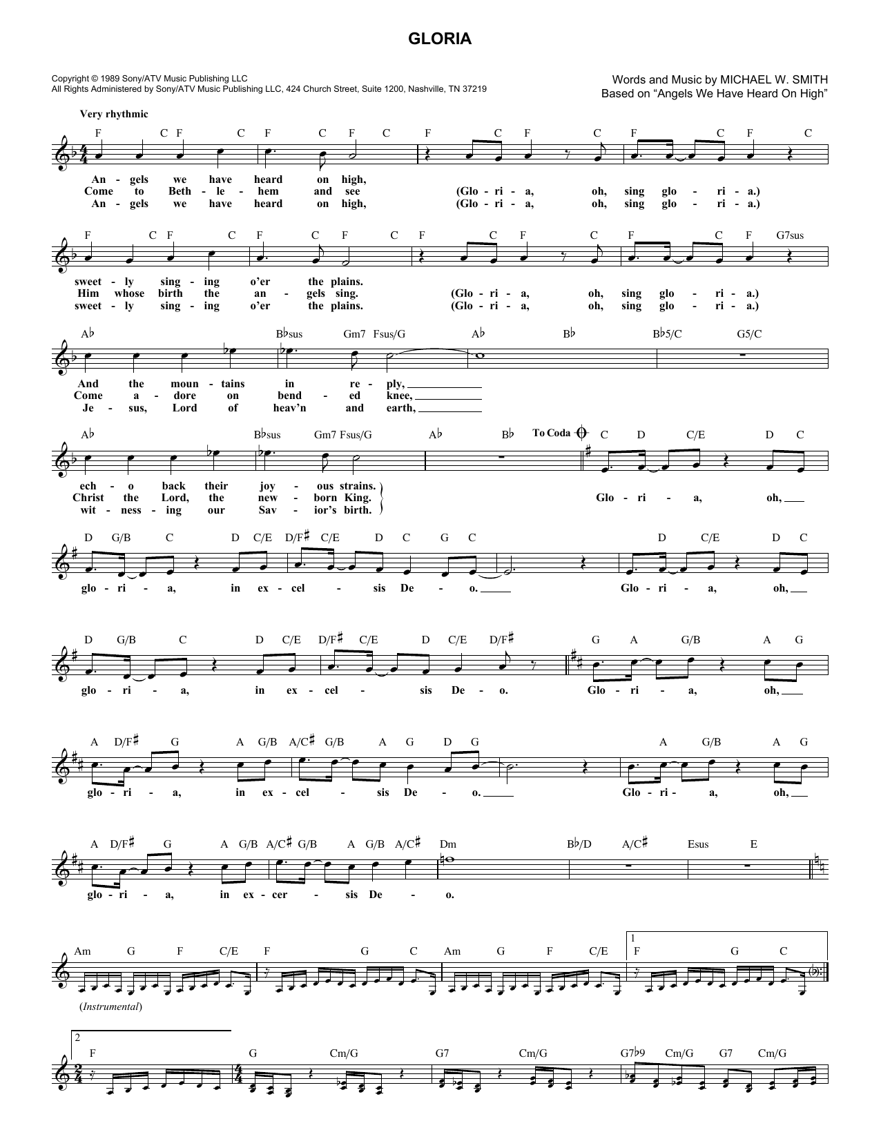 Michael W Smith Gloria Sheet Music Notes Chords Printable