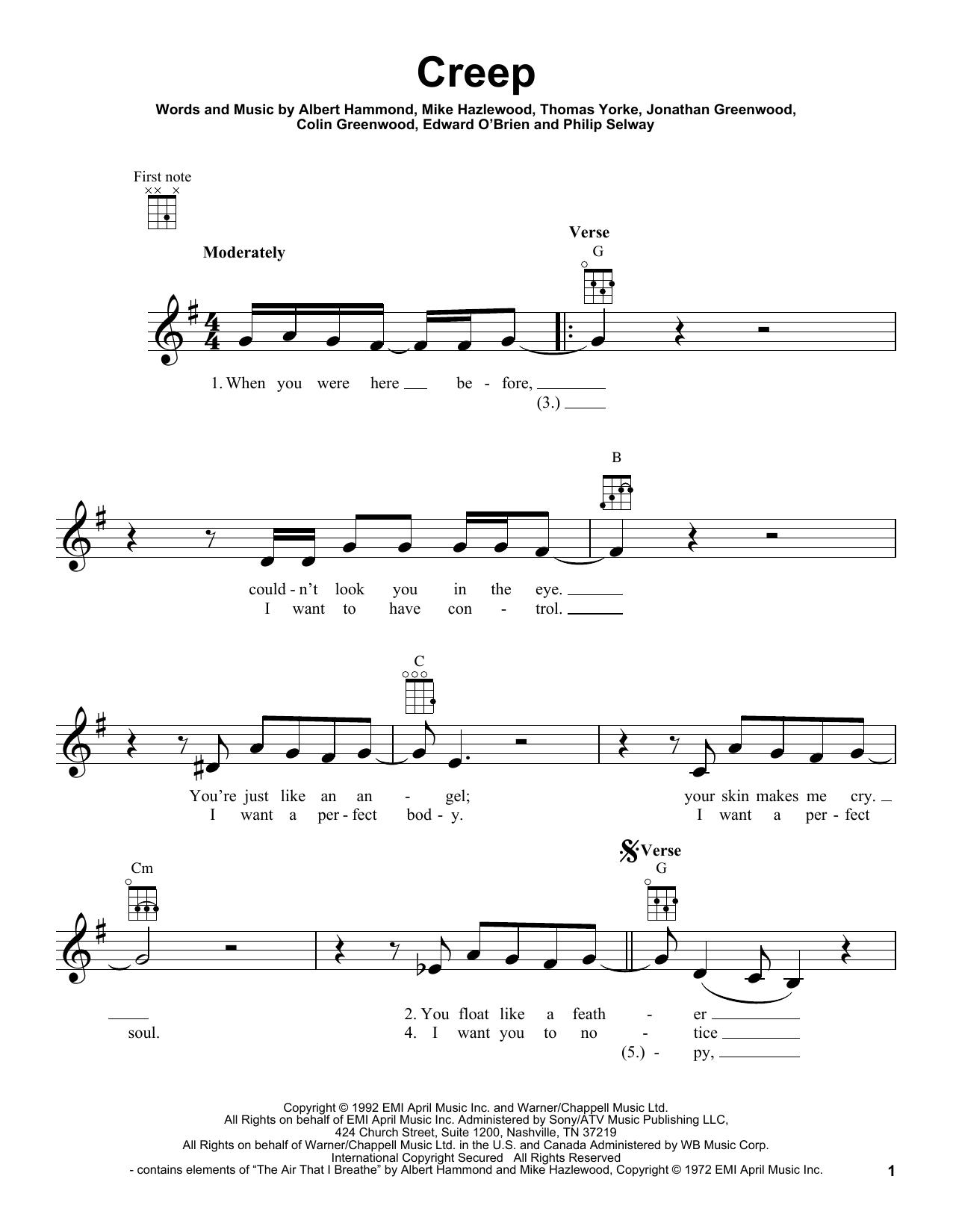 Radiohead Creep Sheet Music Notes Chords Printable Pop Ukulele