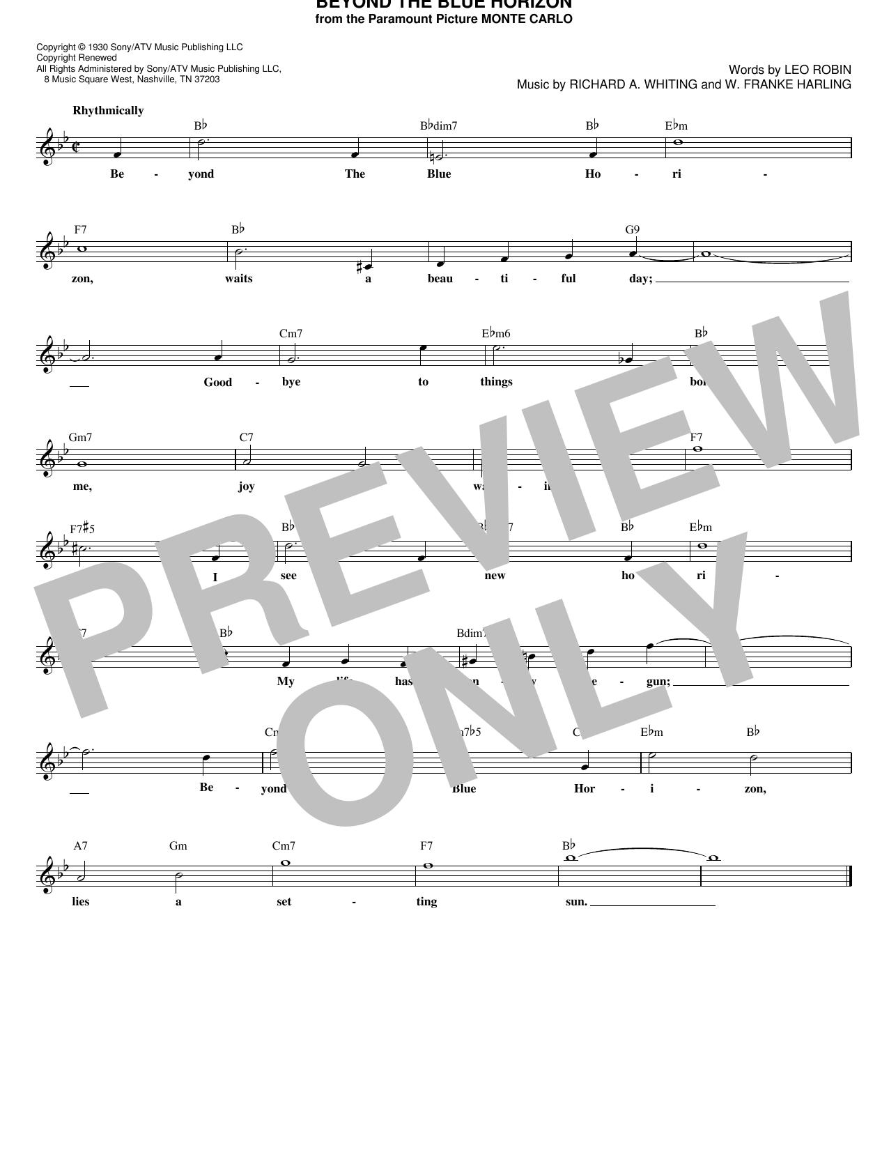 Lou Christie 'Beyond The Blue Horizon' Sheet Music Notes, Chords | Download  Printable Melody Line, Lyrics & Chords - SKU: 182039
