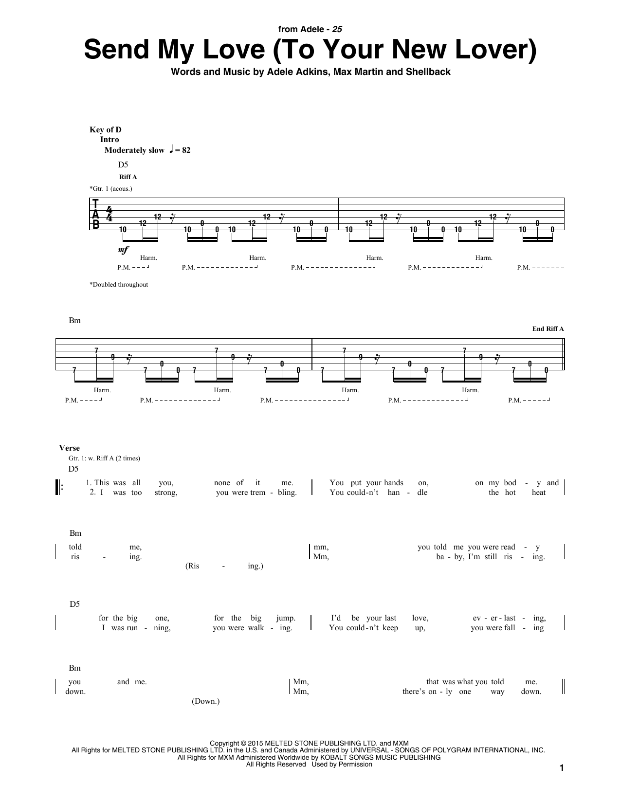 Adele Send My Love To Your New Lover Sheet Music Notes Chords