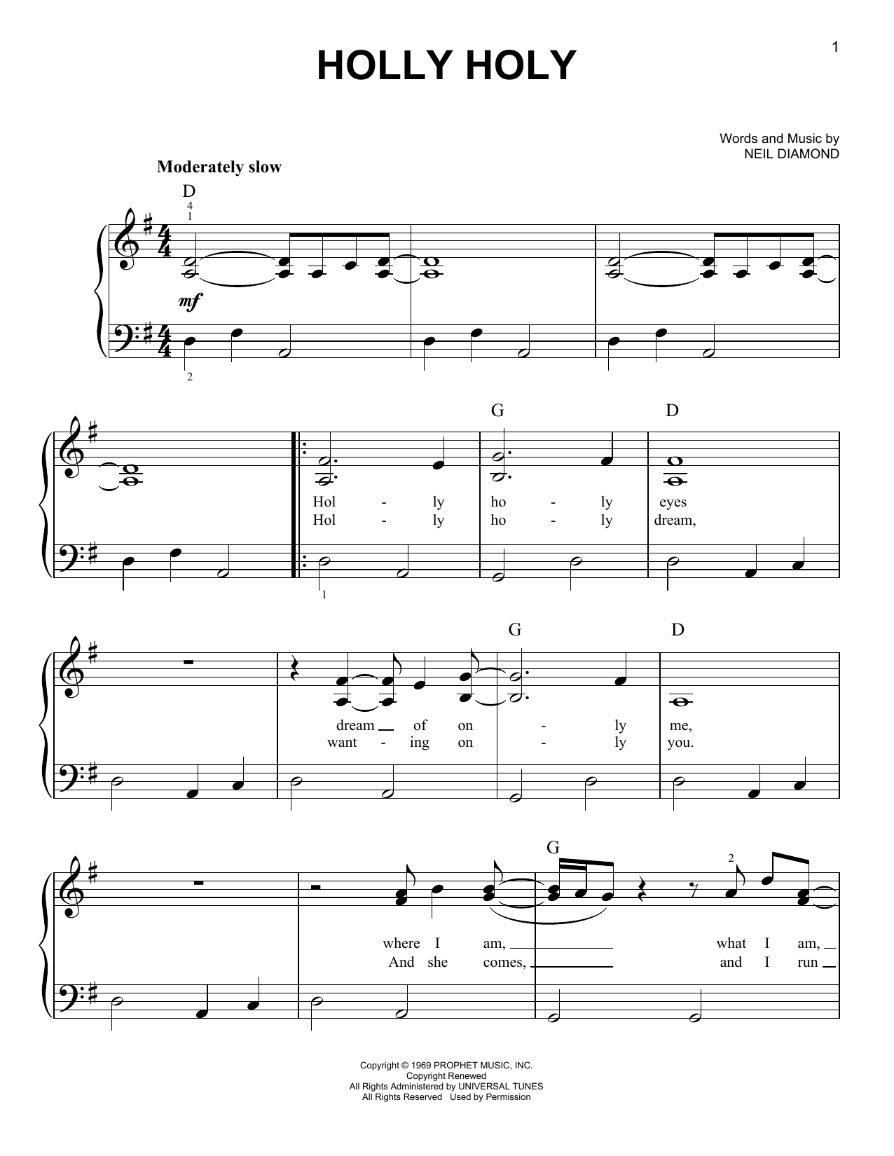 Neil Diamond Holly Holy Sheet Music Notes Chords Printable Rock