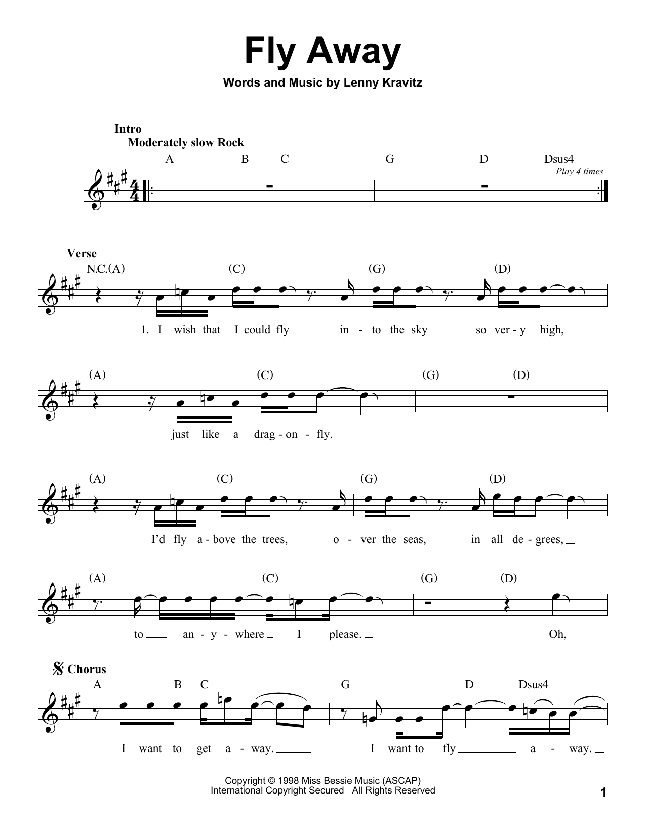 Lenny Kravitz Fly Away Sheet Music Notes Chords Printable Rock