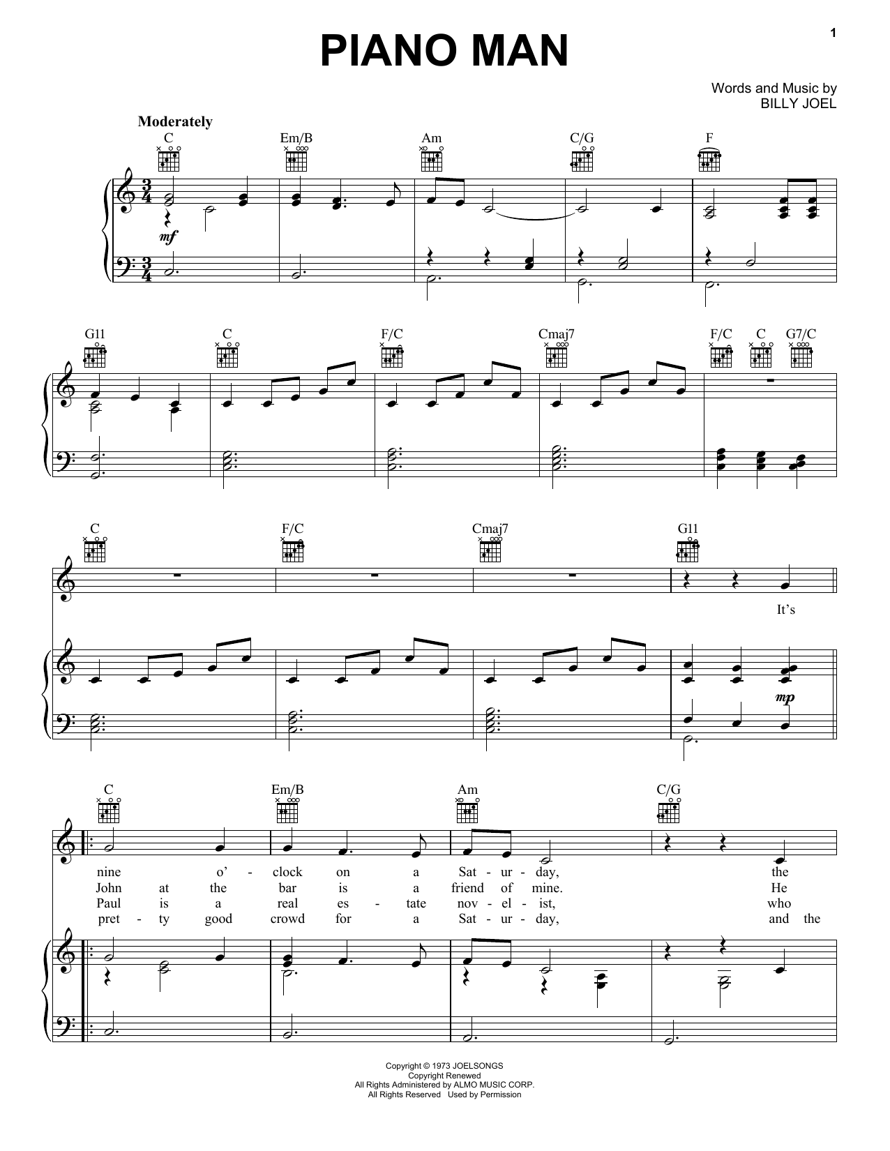 Billy Joel Piano Man Sheet Music Notes Chords Printable Rock