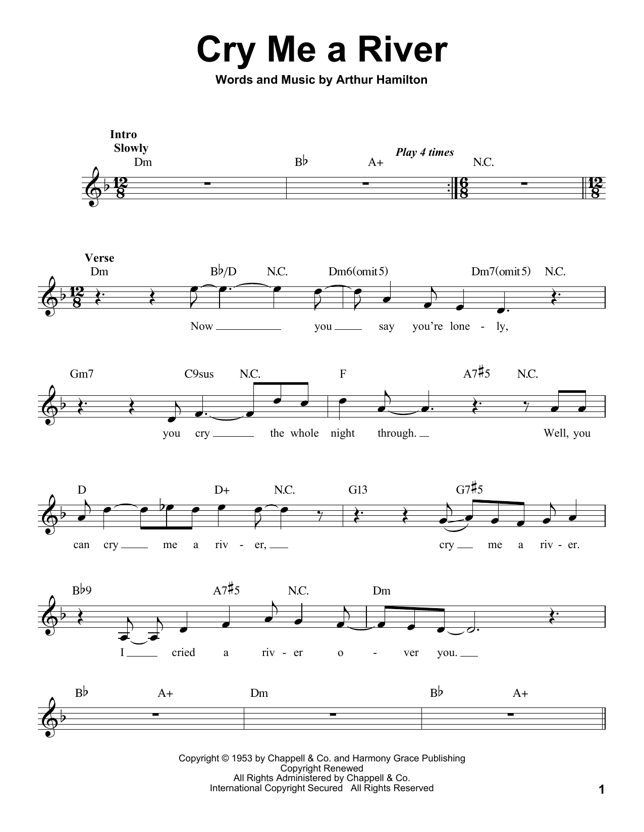 Michael Bubl Cry Me A River Sheet Music Notes Chords Printable