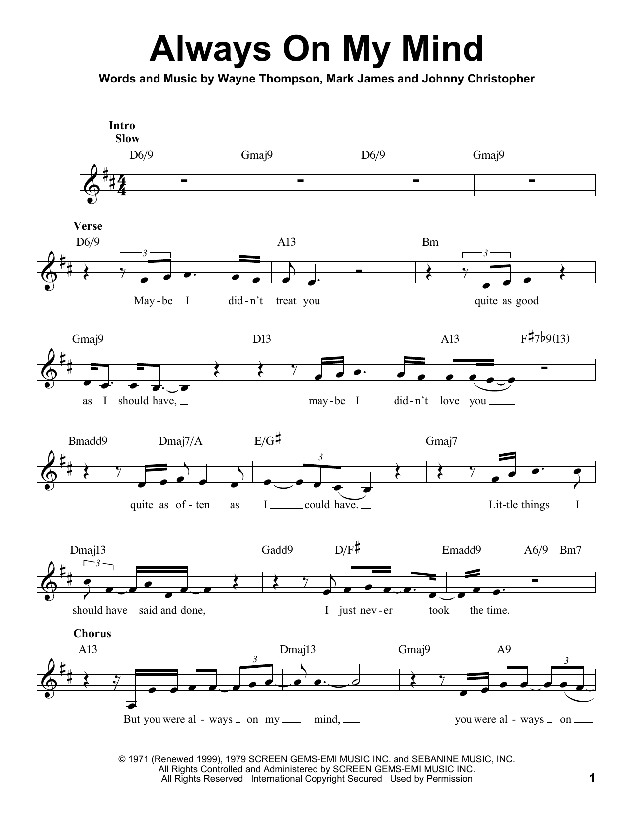 Michael Bubl Always On My Mind Sheet Music Notes Chords