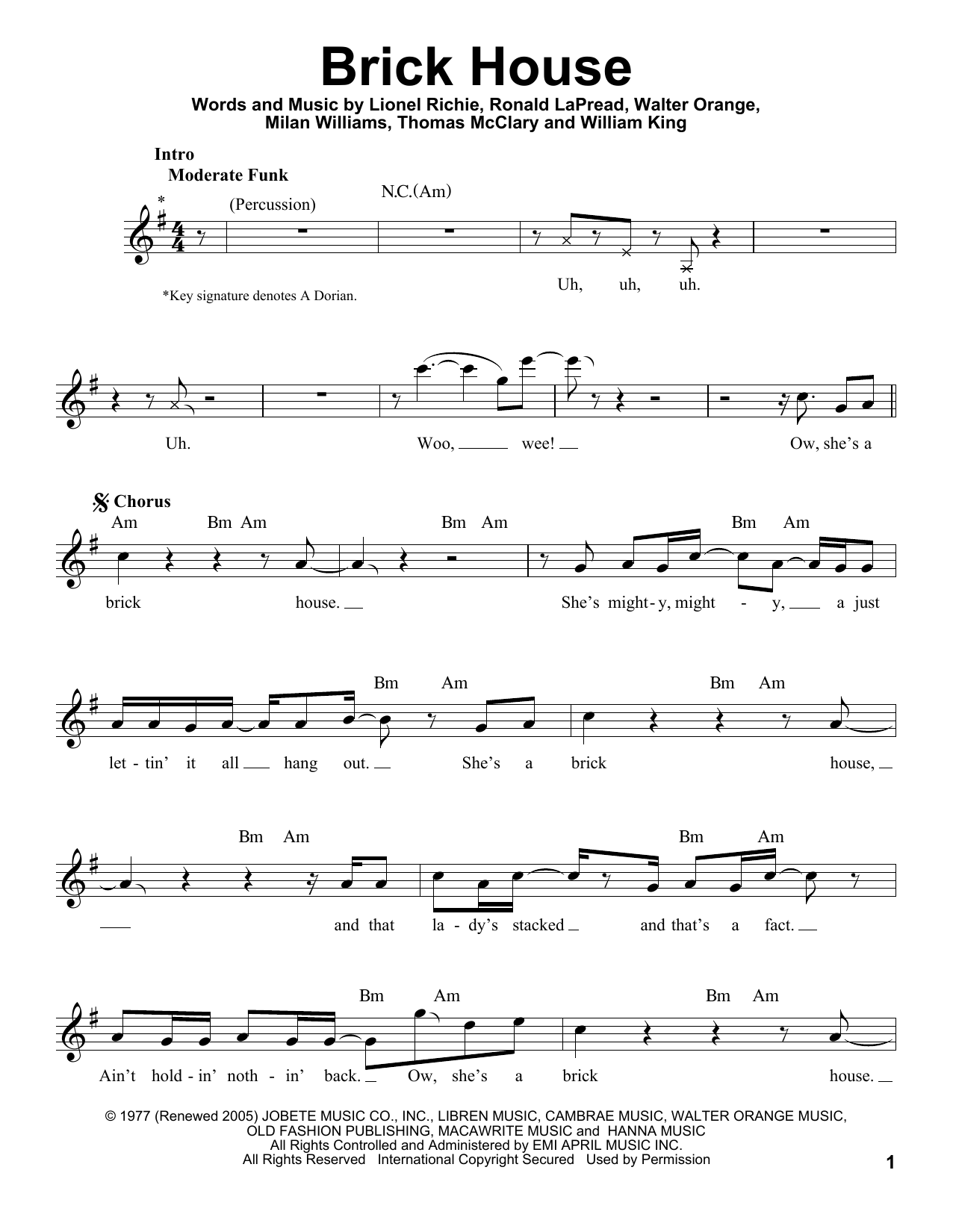 Commodores Brick House Sheet Music Notes Chords Printable Pop