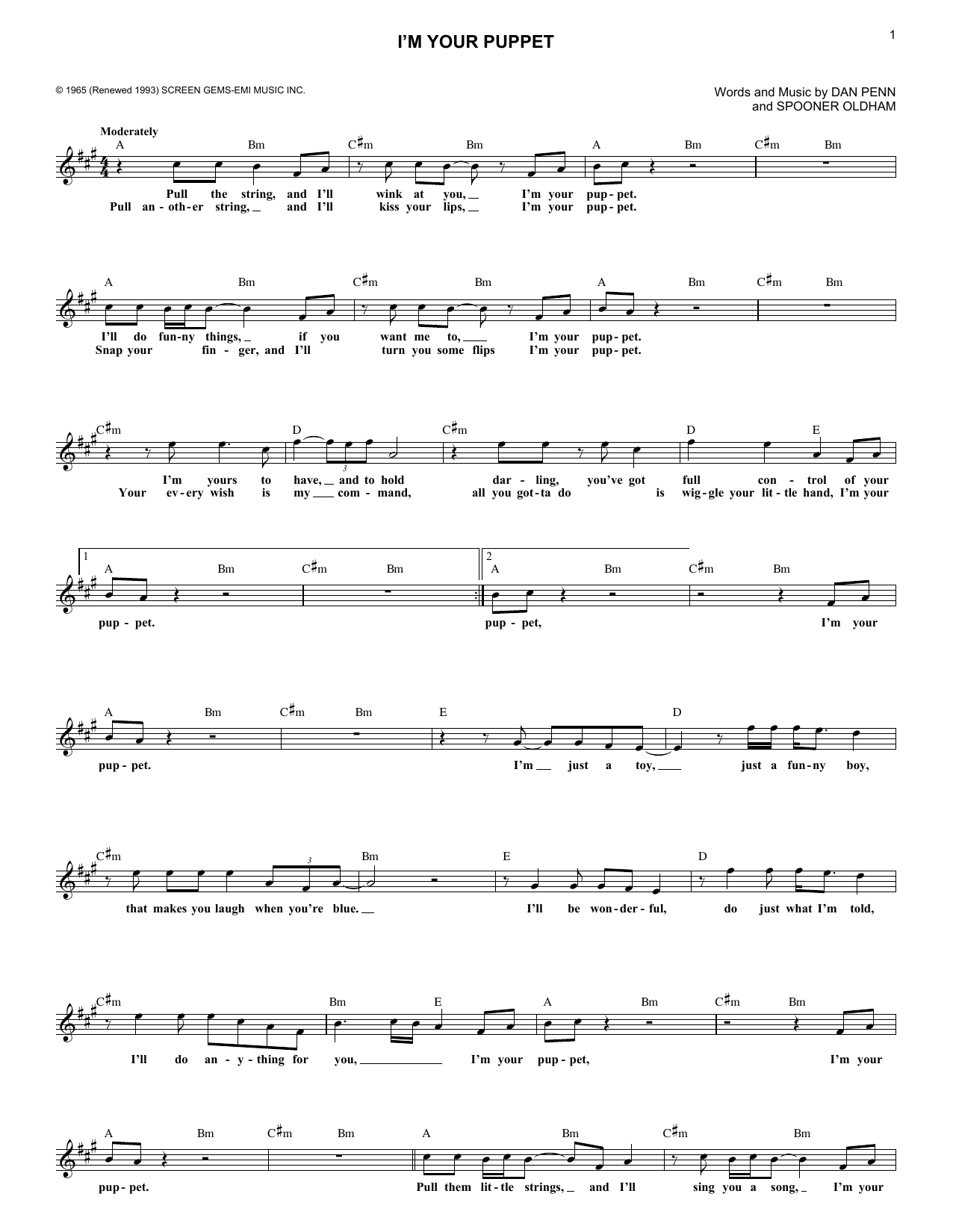 James Bobby Purify Im Your Puppet Sheet Music Notes Chords