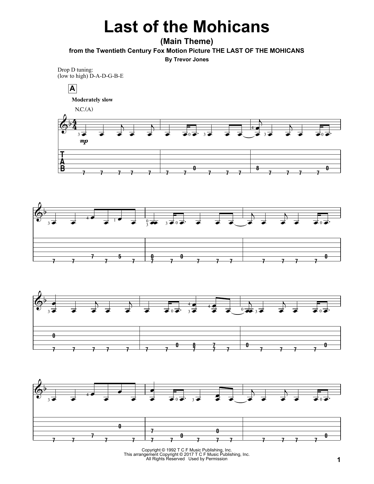 Trevor Jones Last Of The Mohicans Main Theme Sheet Music Notes