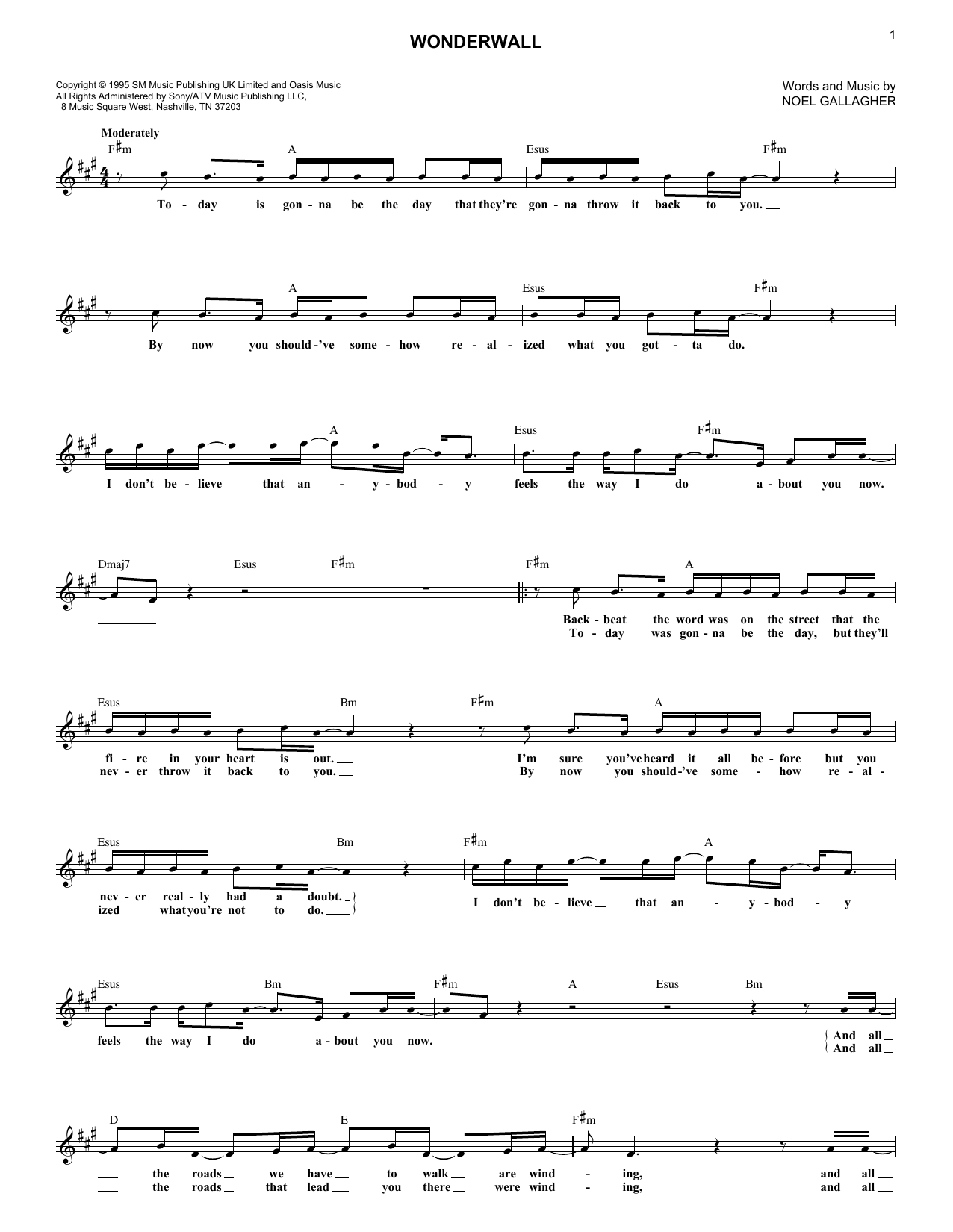 Oasis Wonderwall Sheet Music Notes Chords Printable Pop Melody