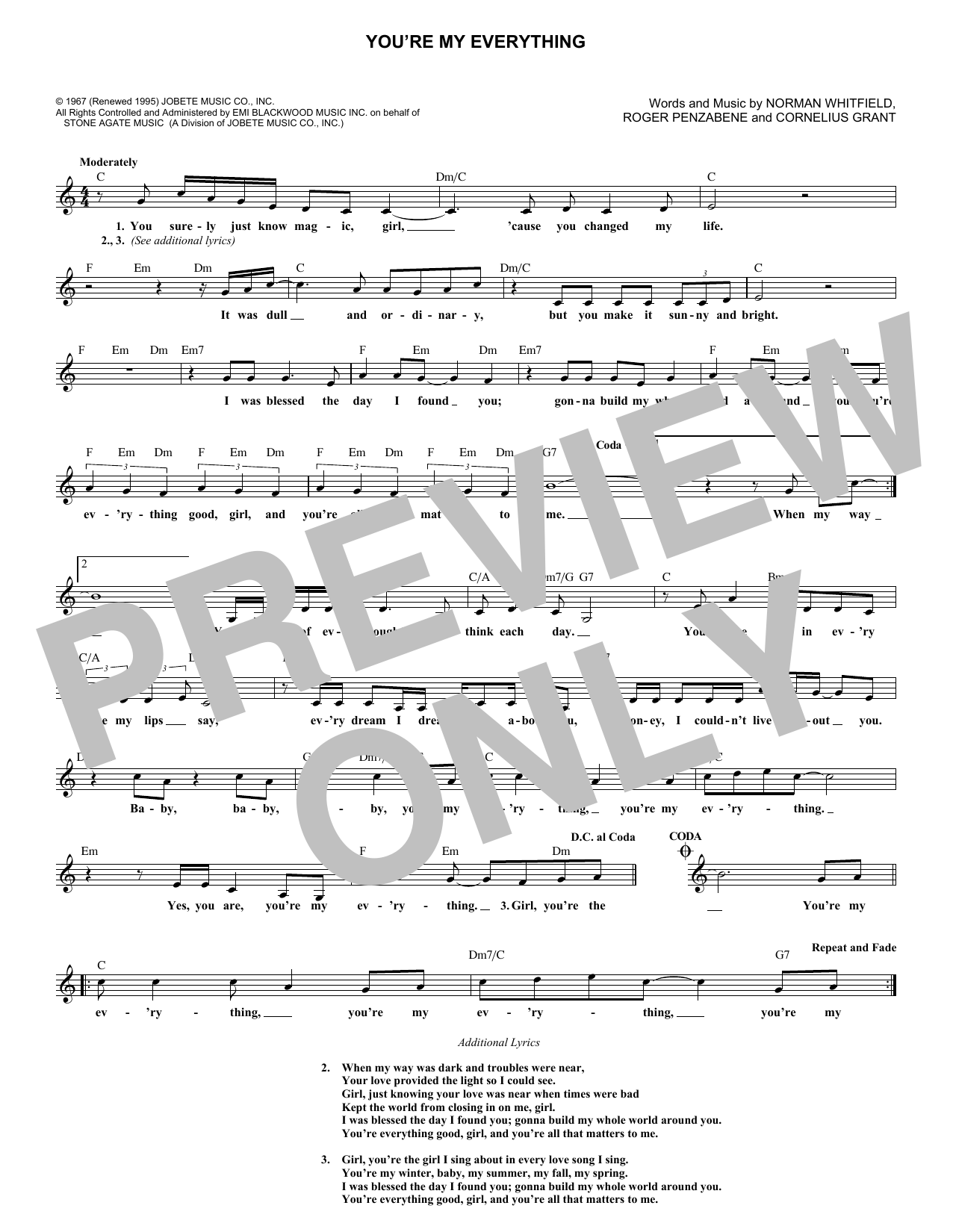 The Temptations Youre My Everything Sheet Music Notes Chords