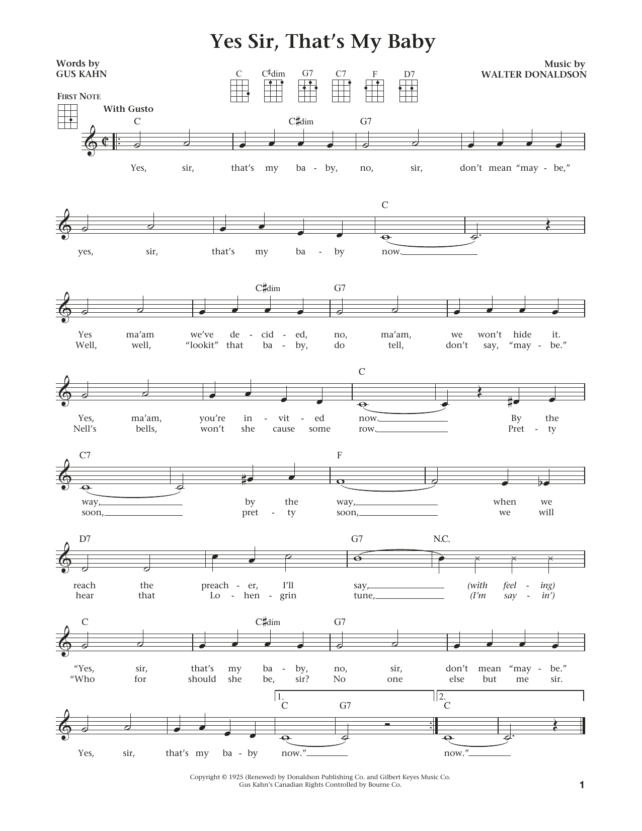 Walter Donaldson Yes Sir Thats My Baby Sheet Music Notes Chords