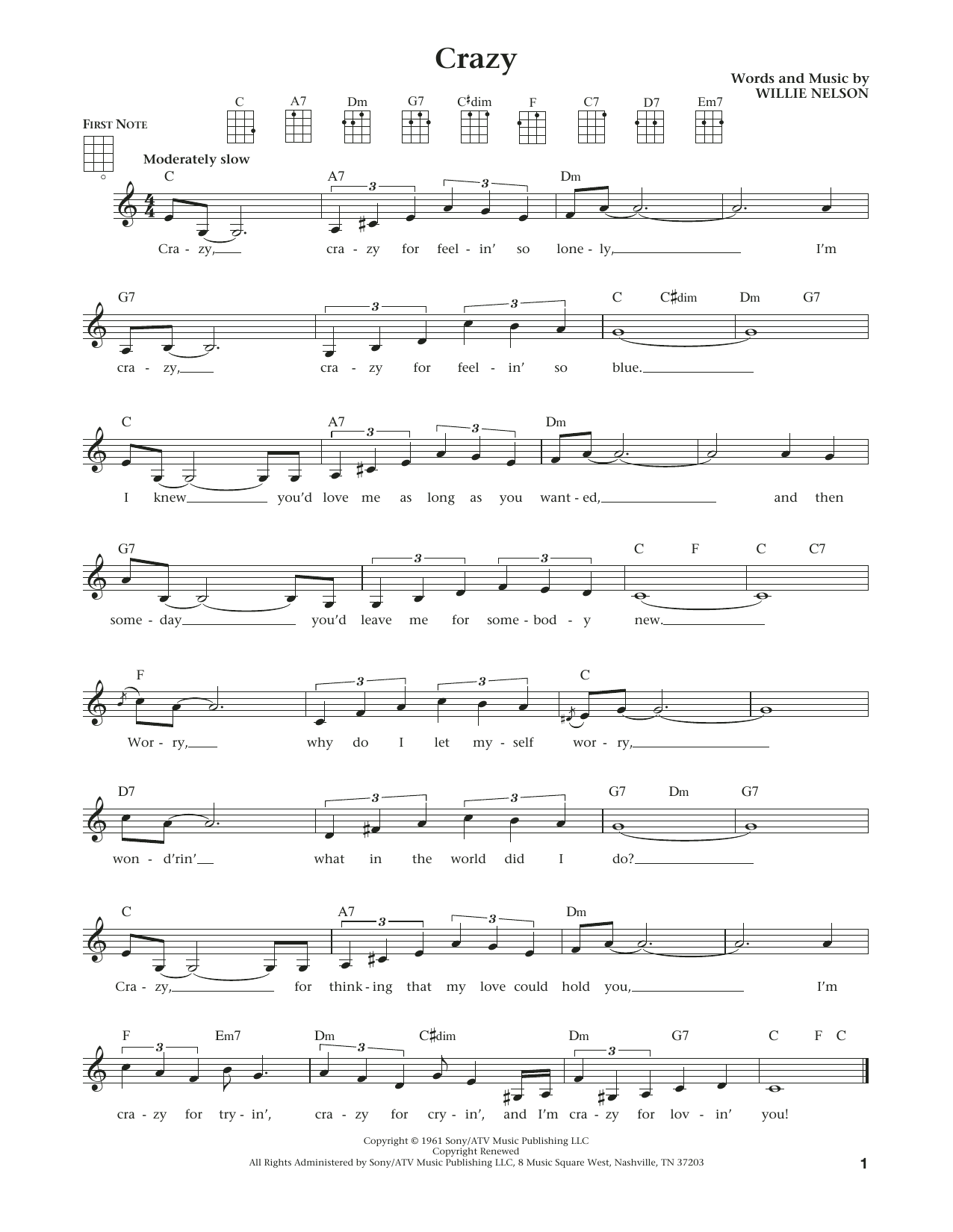 Patsy Cline Crazy Sheet Music Notes Chords Printable Country