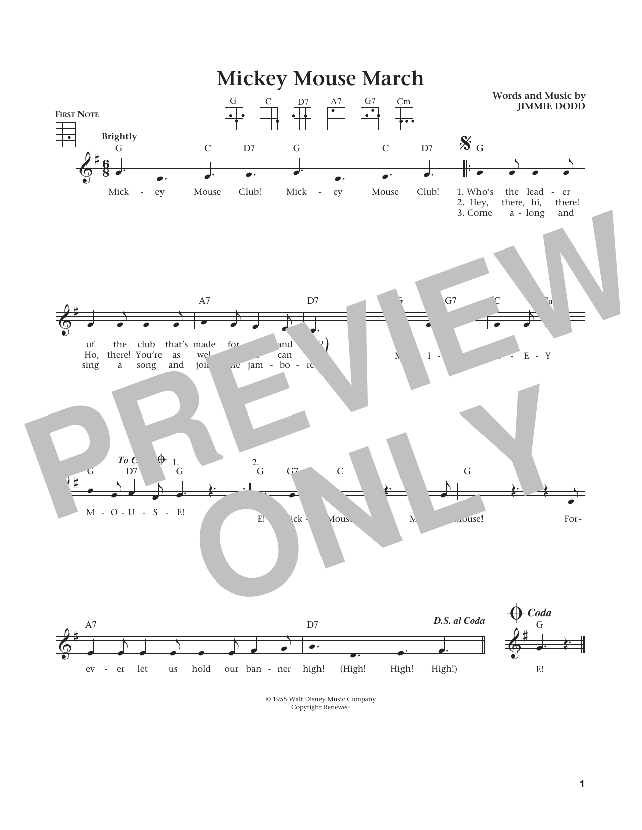 Jimmie Dodd Mickey Mouse March Sheet Music Notes Chords