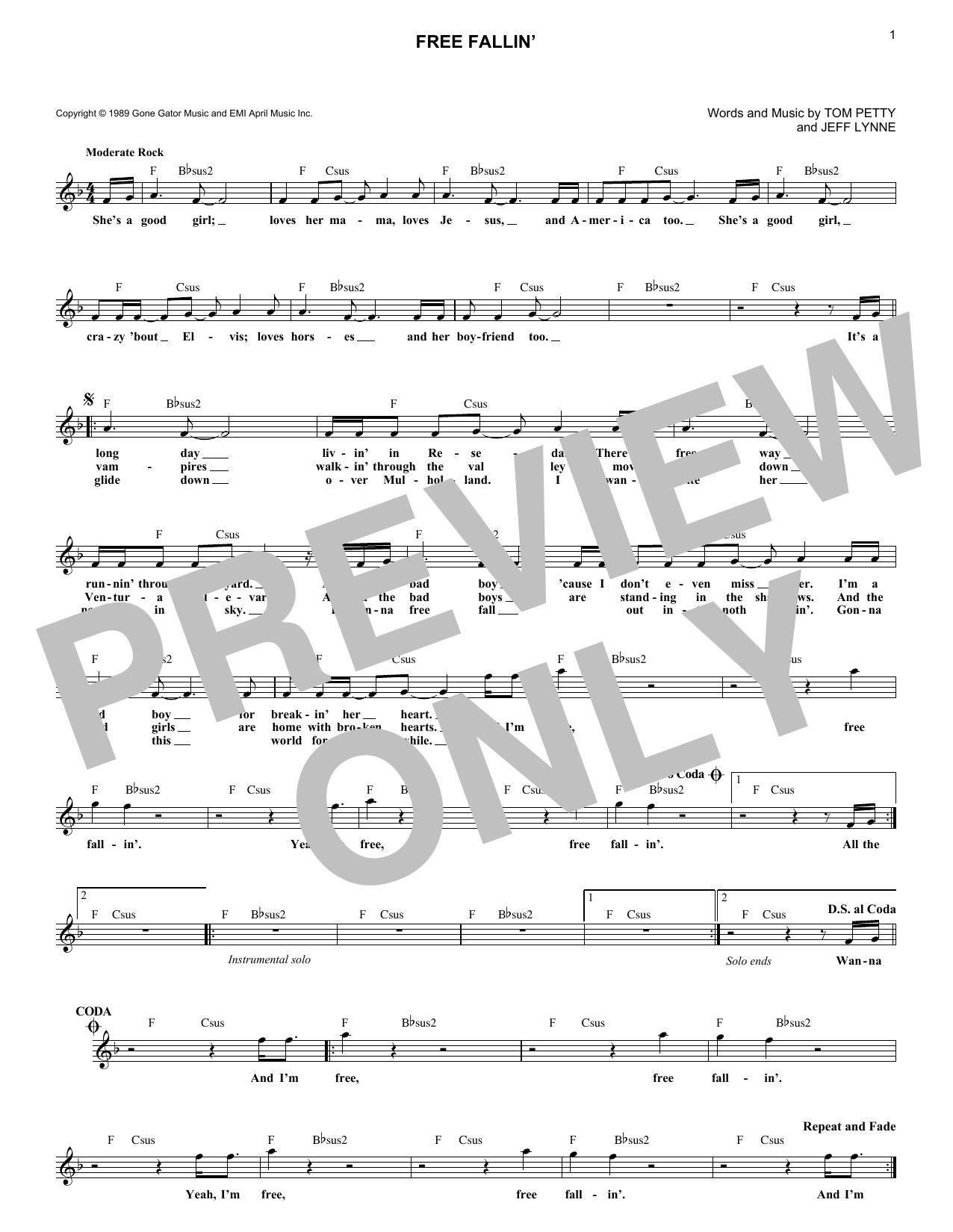 Tom Petty Free Fallin Sheet Music Notes Chords Printable Rock
