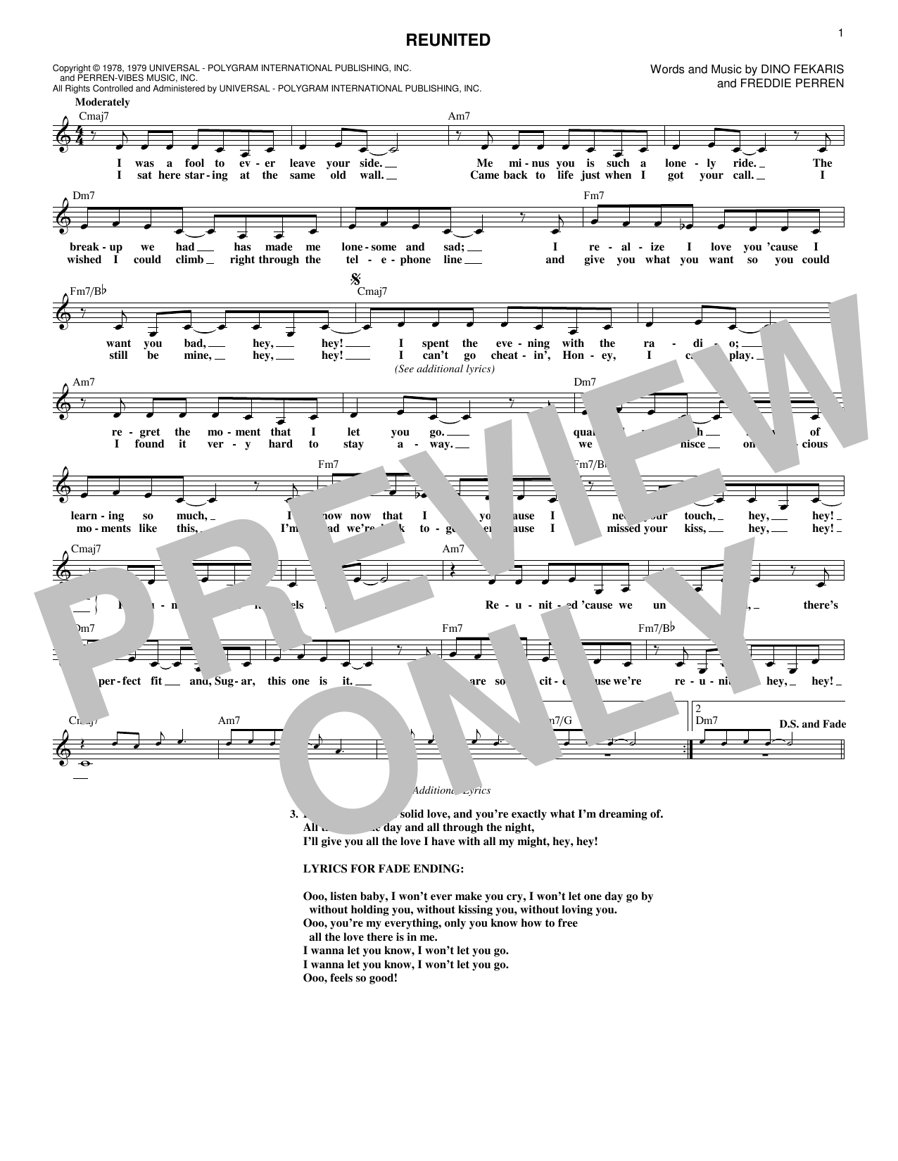 Peaches Herb Reunited Sheet Music Notes Chords Printable Pop