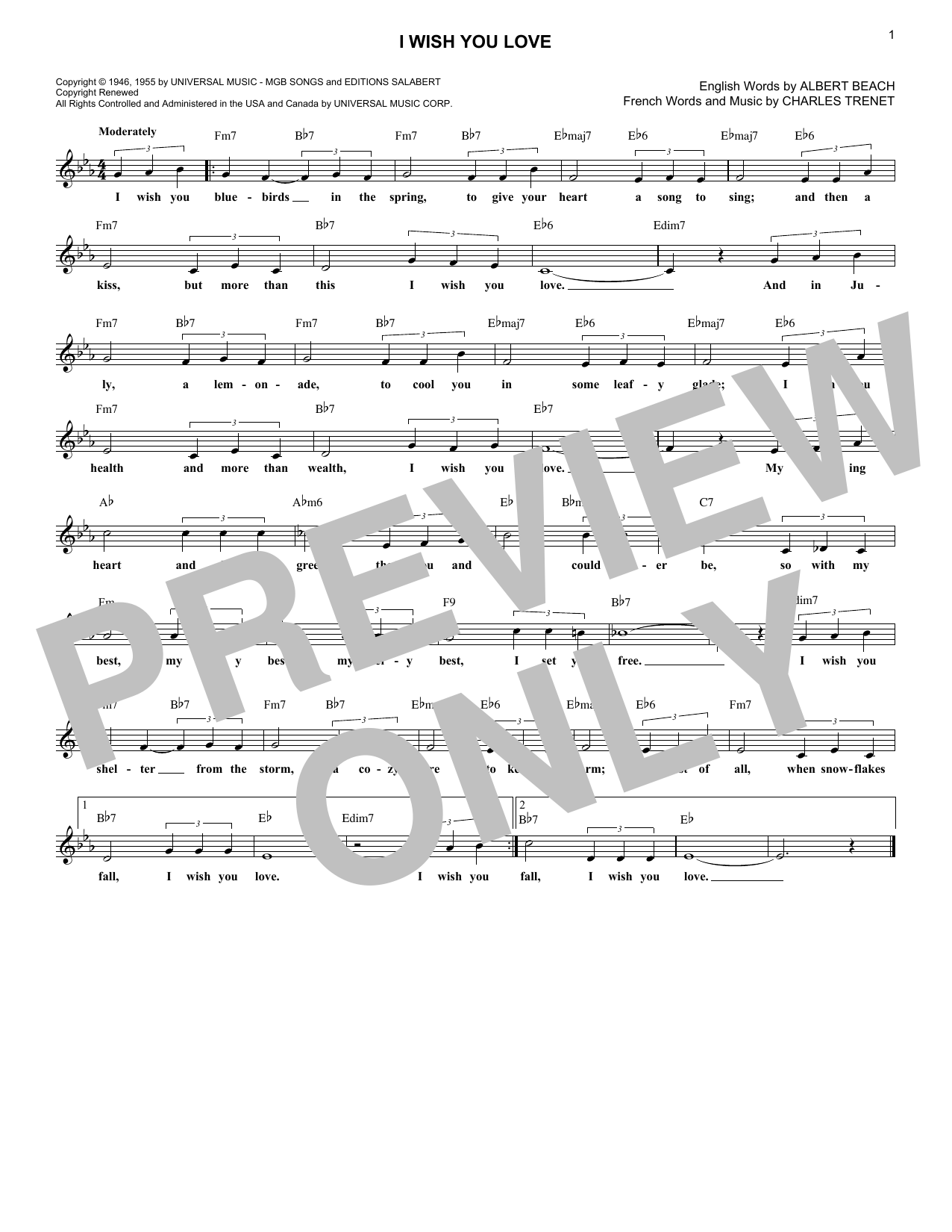 Gloria Lynne I Wish You Love Sheet Music Notes Chords Printable