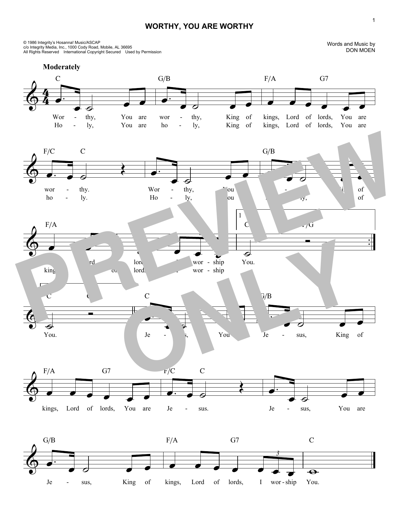 Don Moen Worthy You Are Worthy Sheet Music Notes Chords