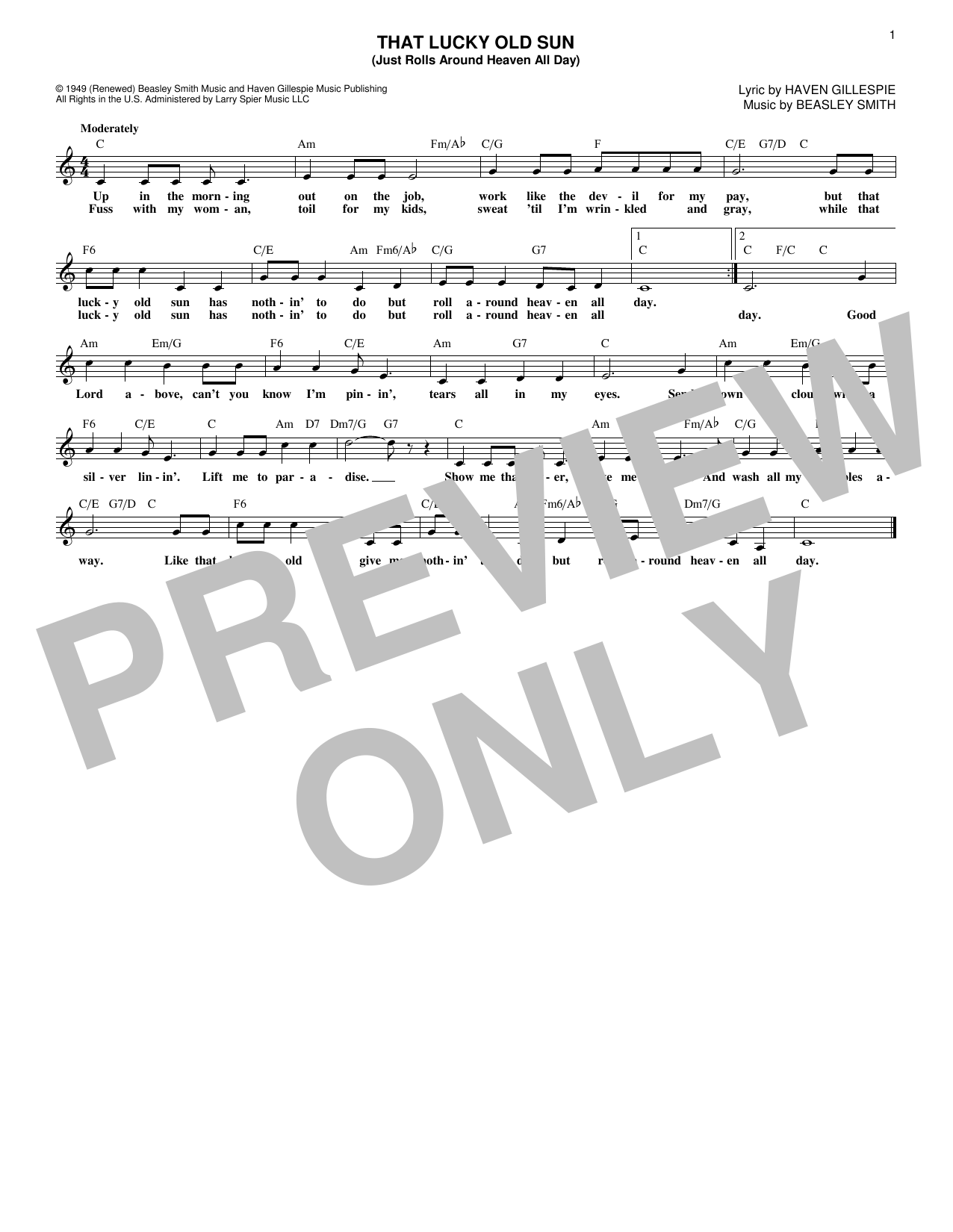Haven Gillespie That Lucky Old Sun Sheet Music Notes Chords