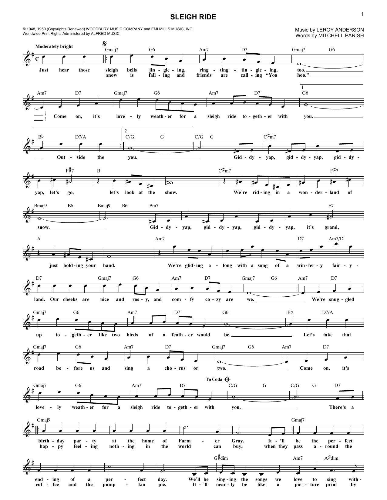 Leroy Anderson Sleigh Ride Sheet Music Notes Chords Printable