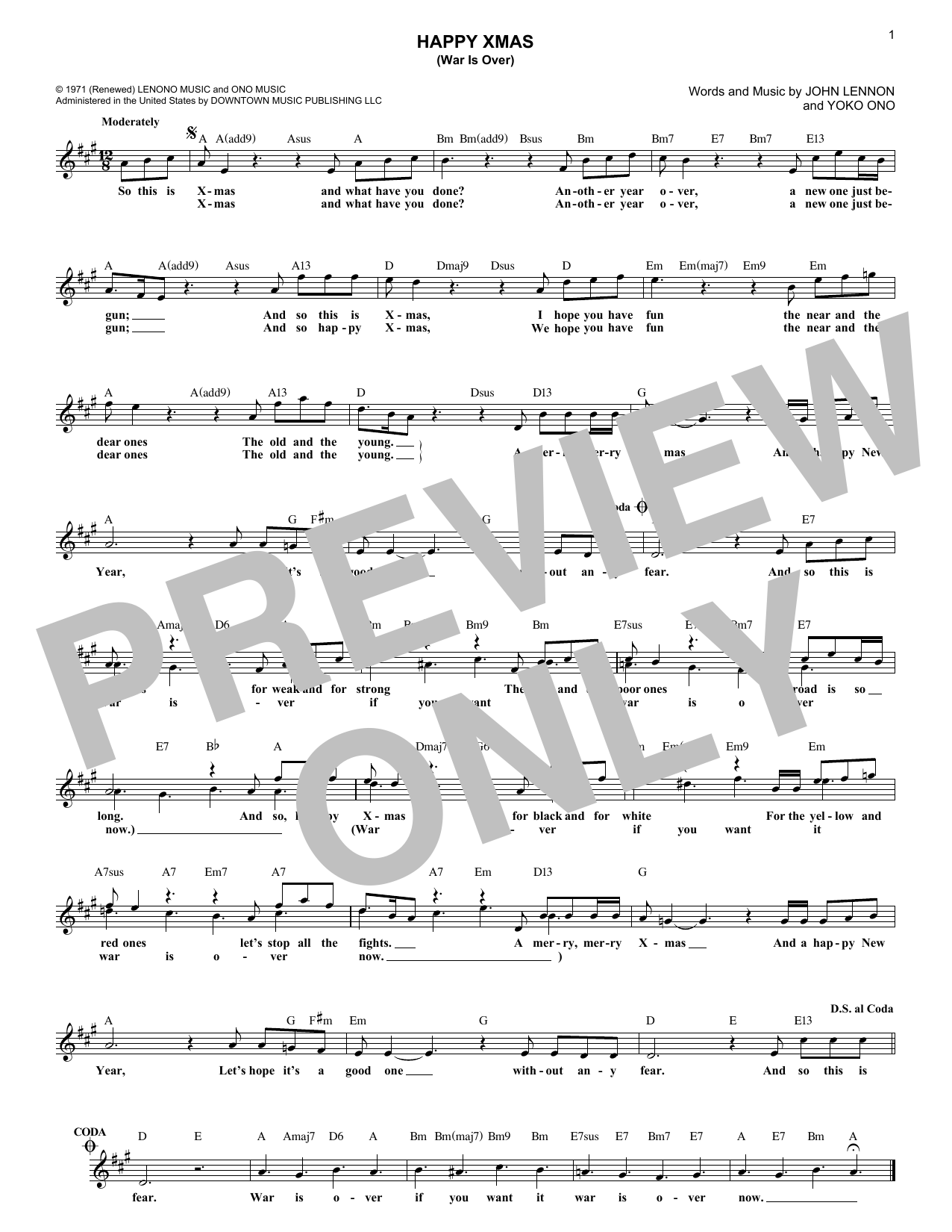 Happy Christmas War Is Over Chords.John Lennon Happy Xmas War Is Over Sheet Music Notes Chords Download Printable Melody Line Lyrics Chords Sku 184912