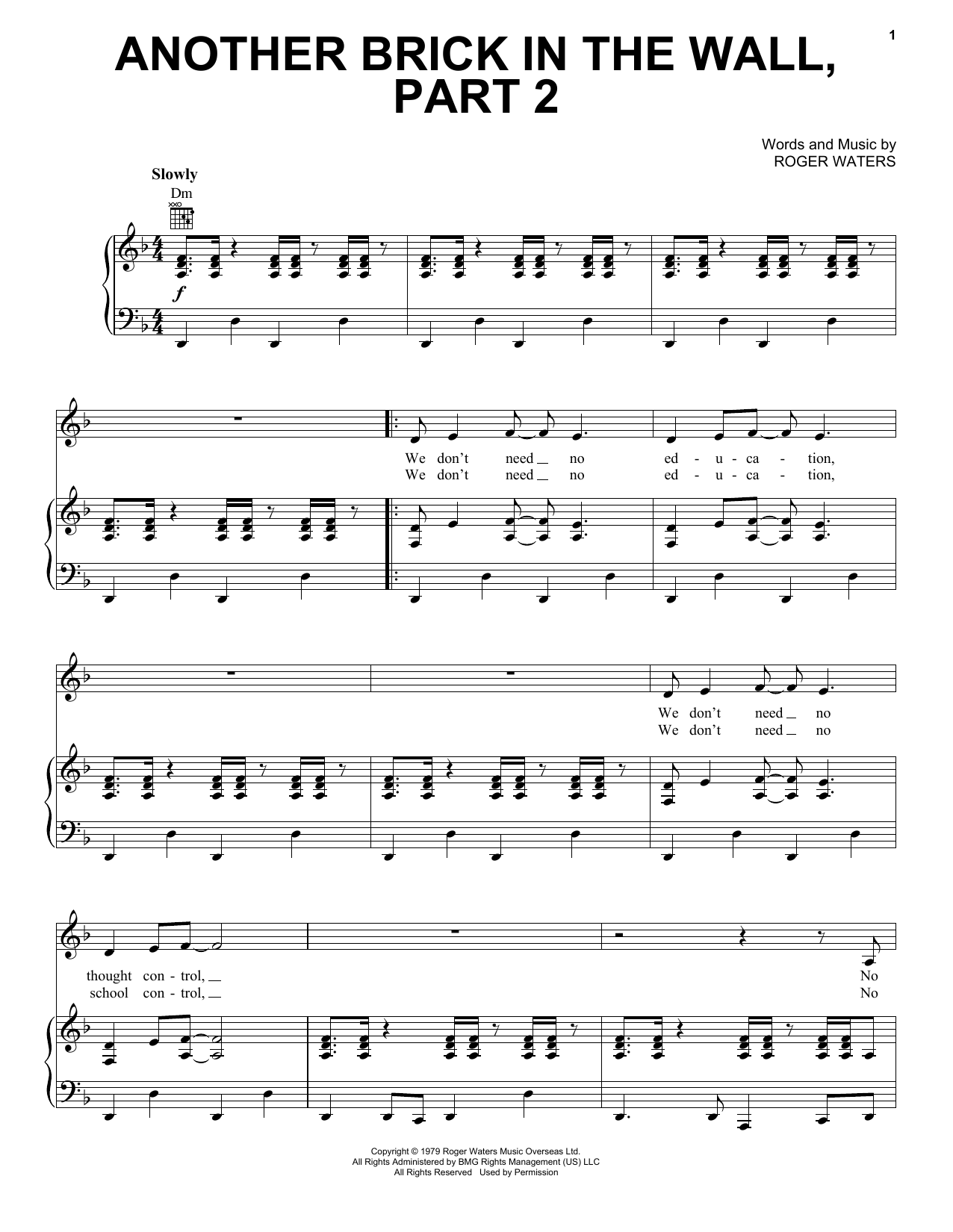 Pink Floyd Another Brick In The Wall Part 2 Sheet Music Notes