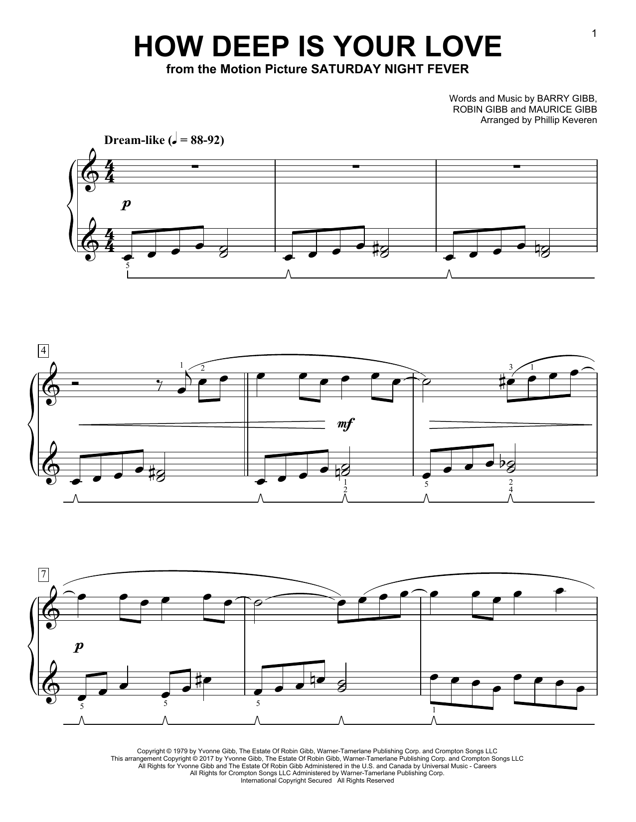 Phillip Keveren How Deep Is Your Love Sheet Music Notes Chords