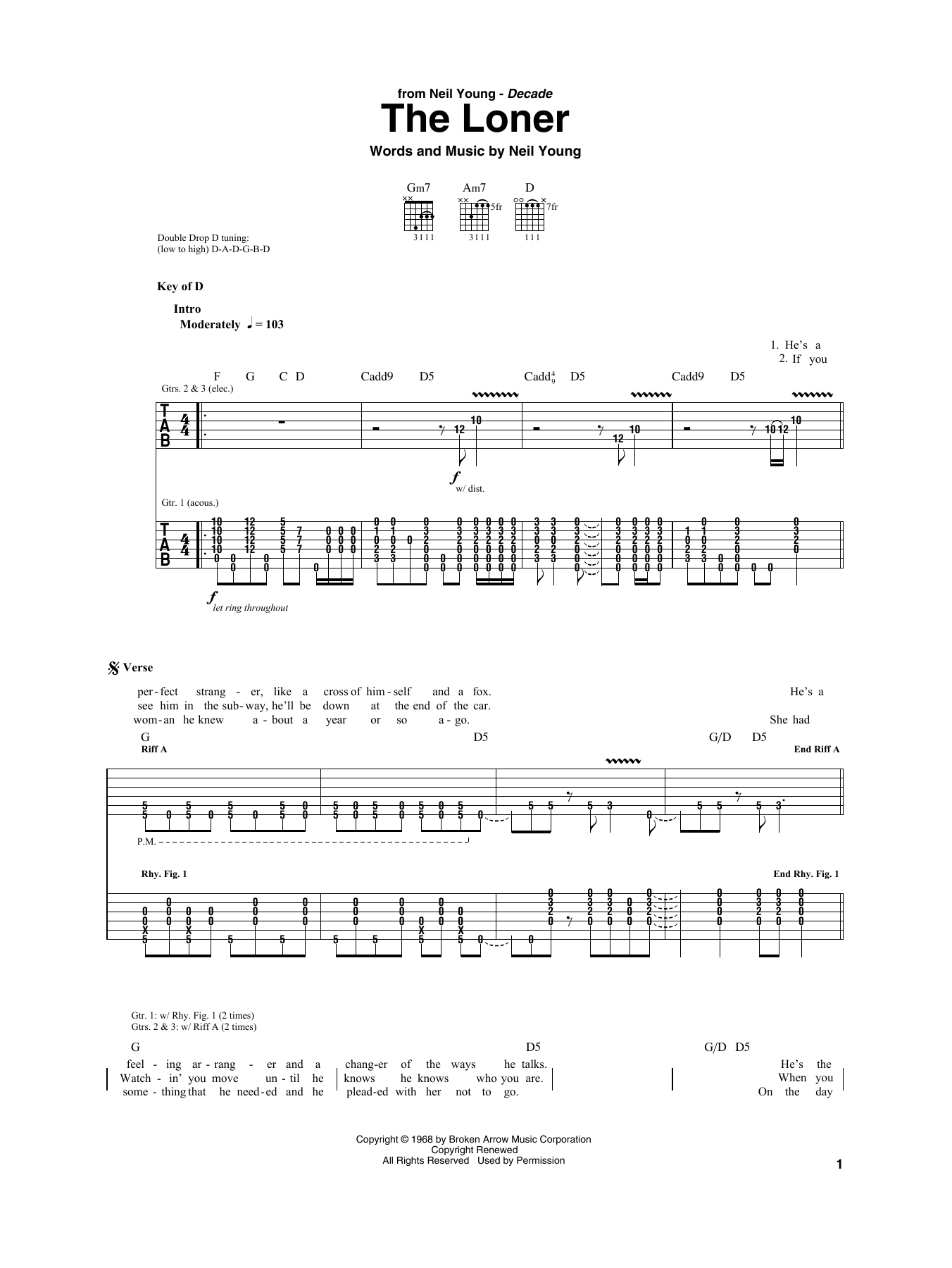 Neil Young The Loner Sheet Music Notes Chords Printable Pop