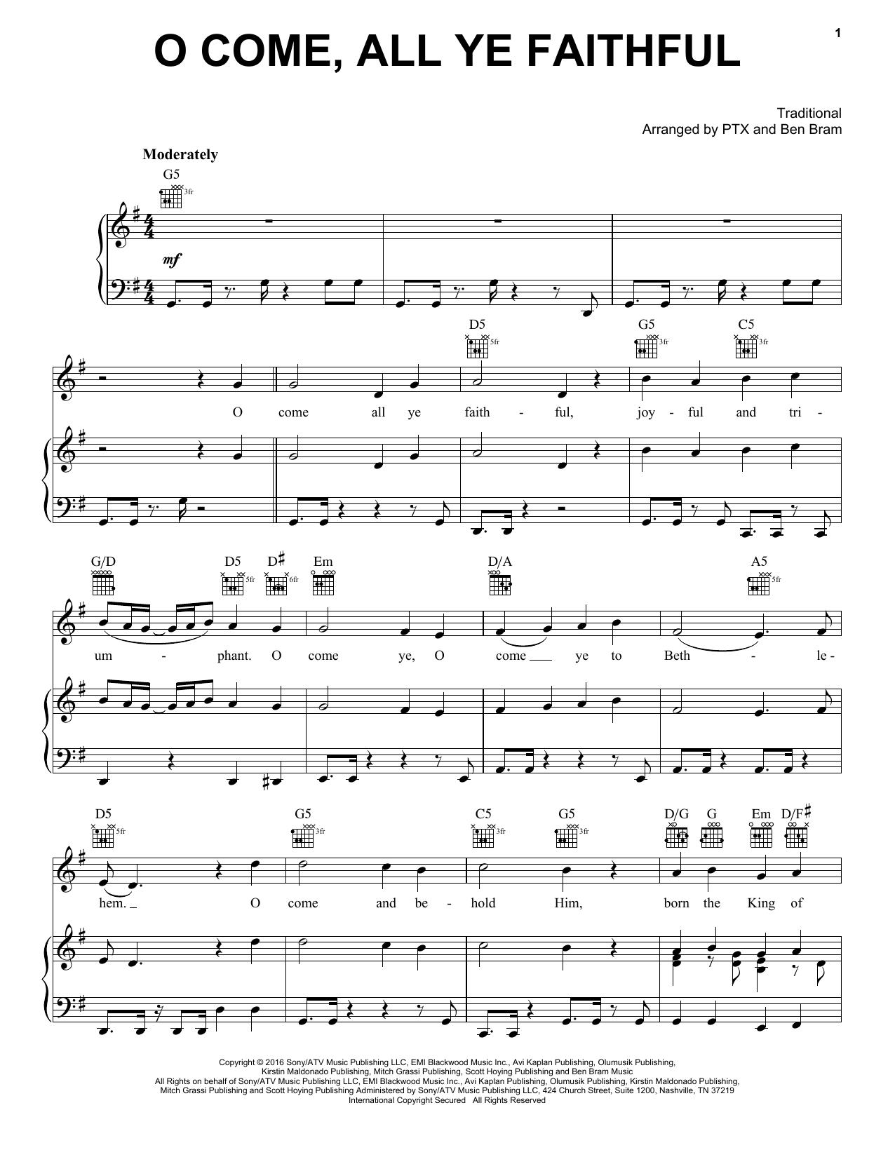 Pentatonix O Come All Ye Faithful Sheet Music Notes Chords